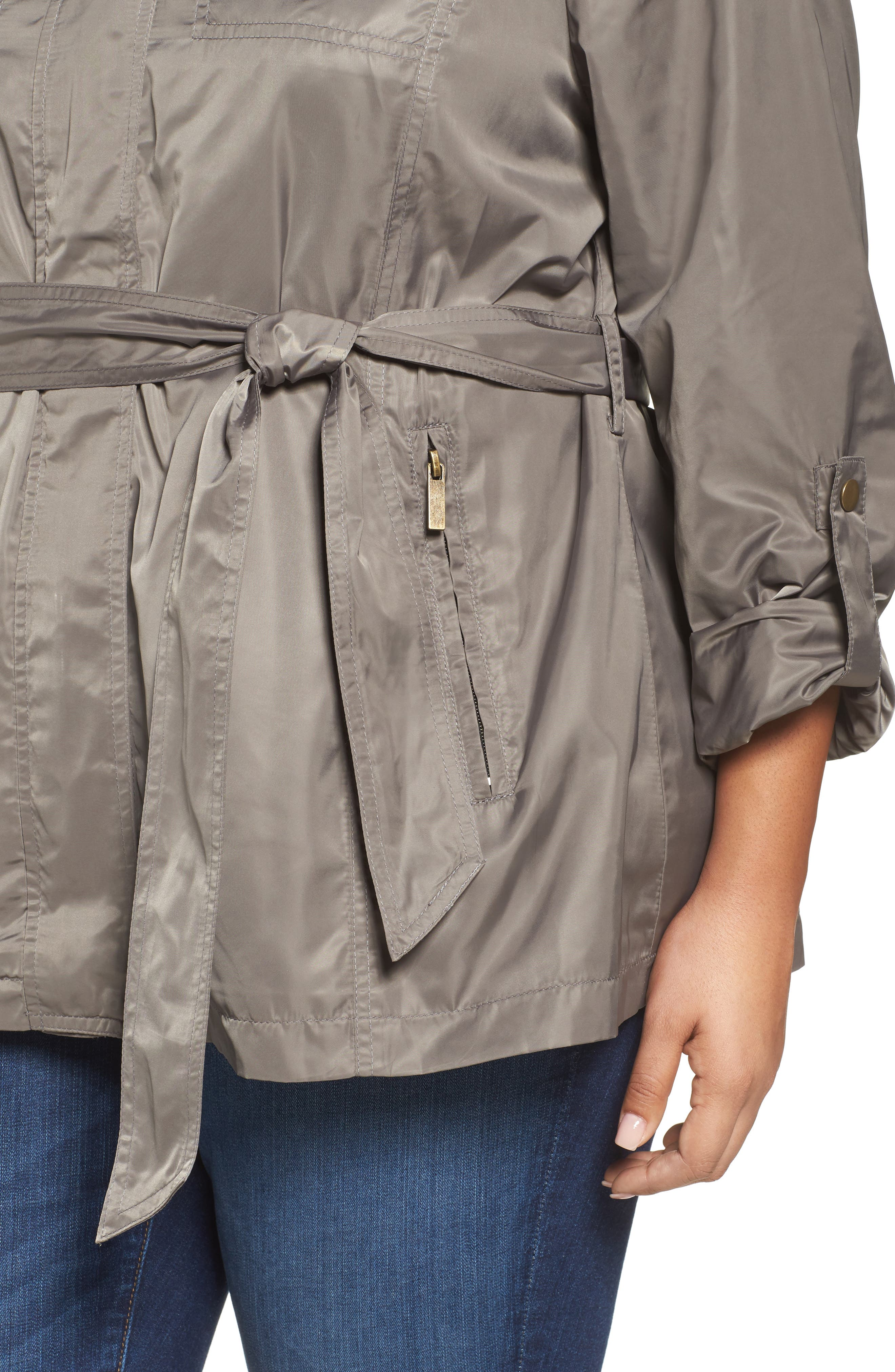 HALOGEN<SUP>®</SUP>, Belted Lightweight Jacket, Alternate thumbnail 5, color, BRINDLE