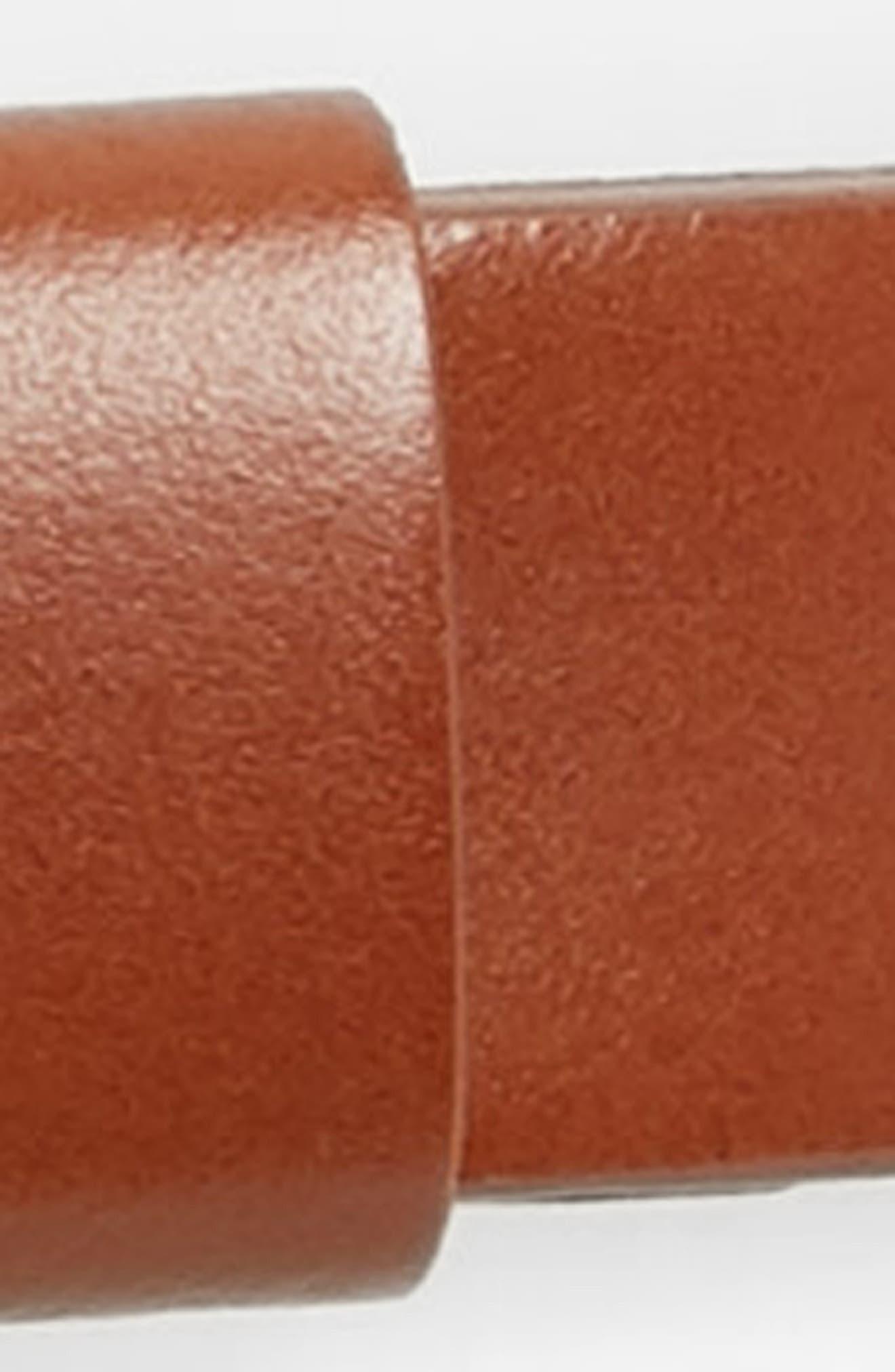 HALOGEN<SUP>®</SUP>, Tailored Trouser Leather Belt, Alternate thumbnail 3, color, COGNAC