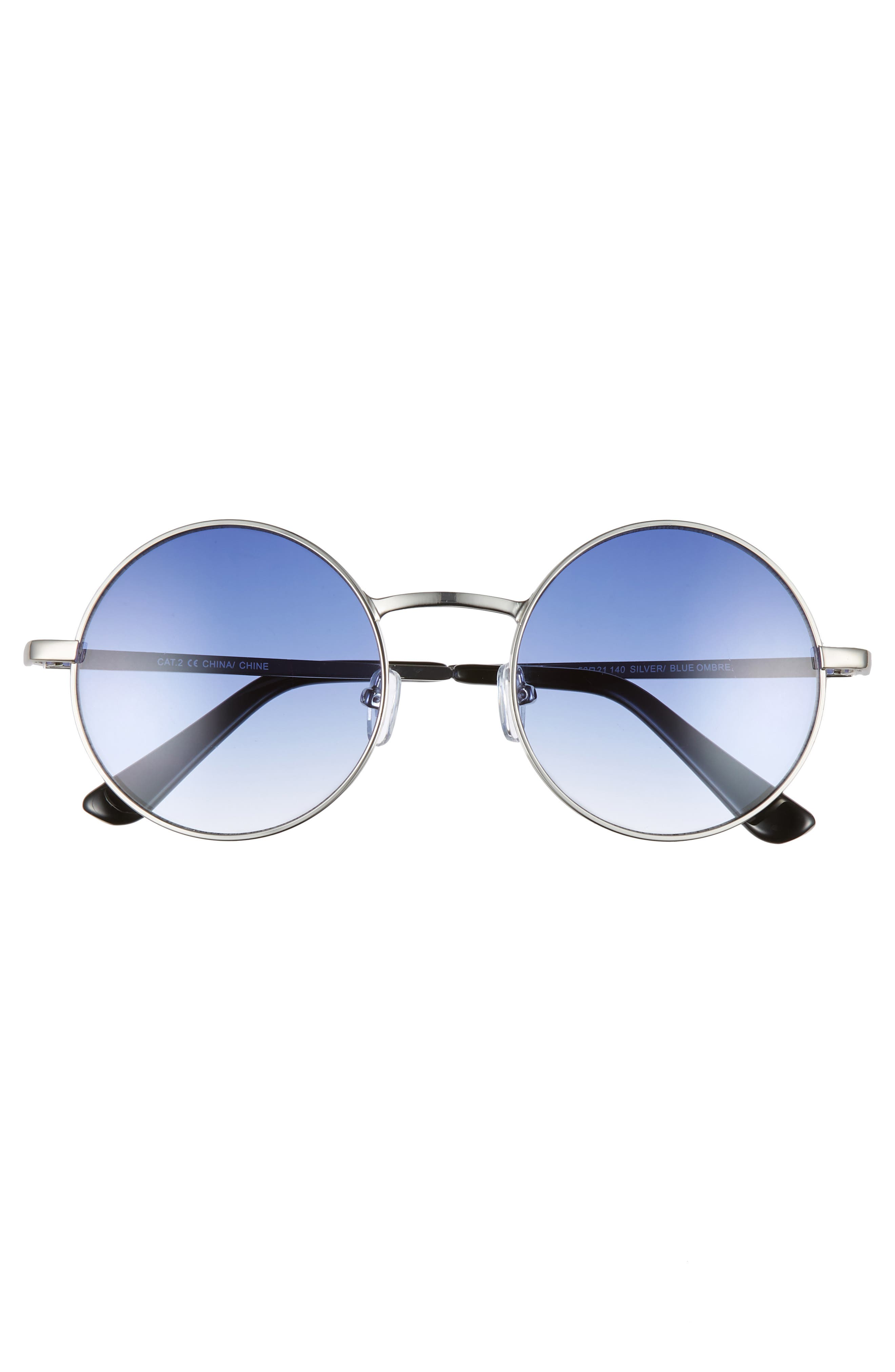 THE RAIL, Lenny 53mm Round Sunglasses, Alternate thumbnail 2, color, SILVER/ BLUE OMBRE