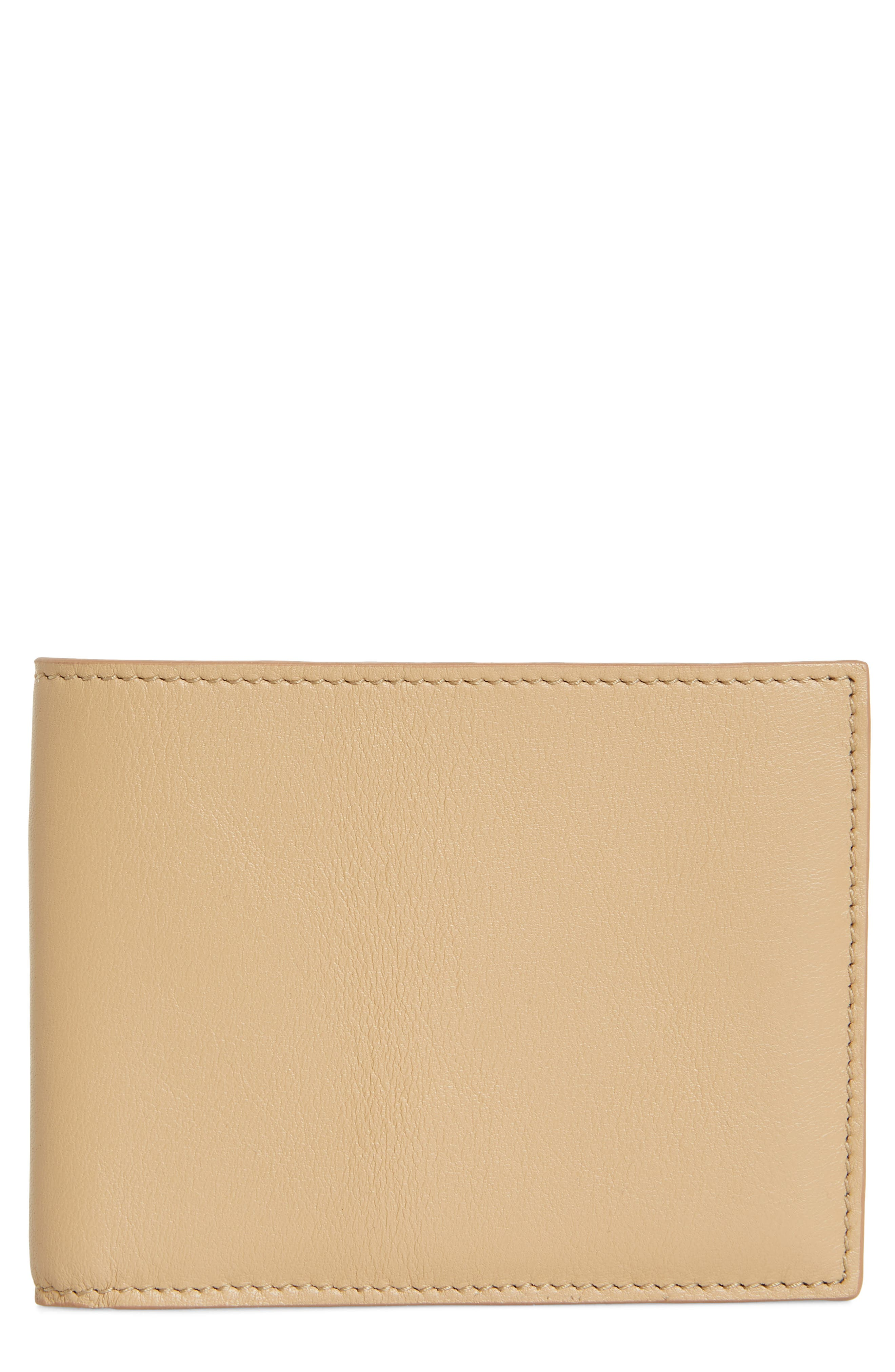 COMMON PROJECTS, Bifold Nappa Leather Wallet, Main thumbnail 1, color, TAN