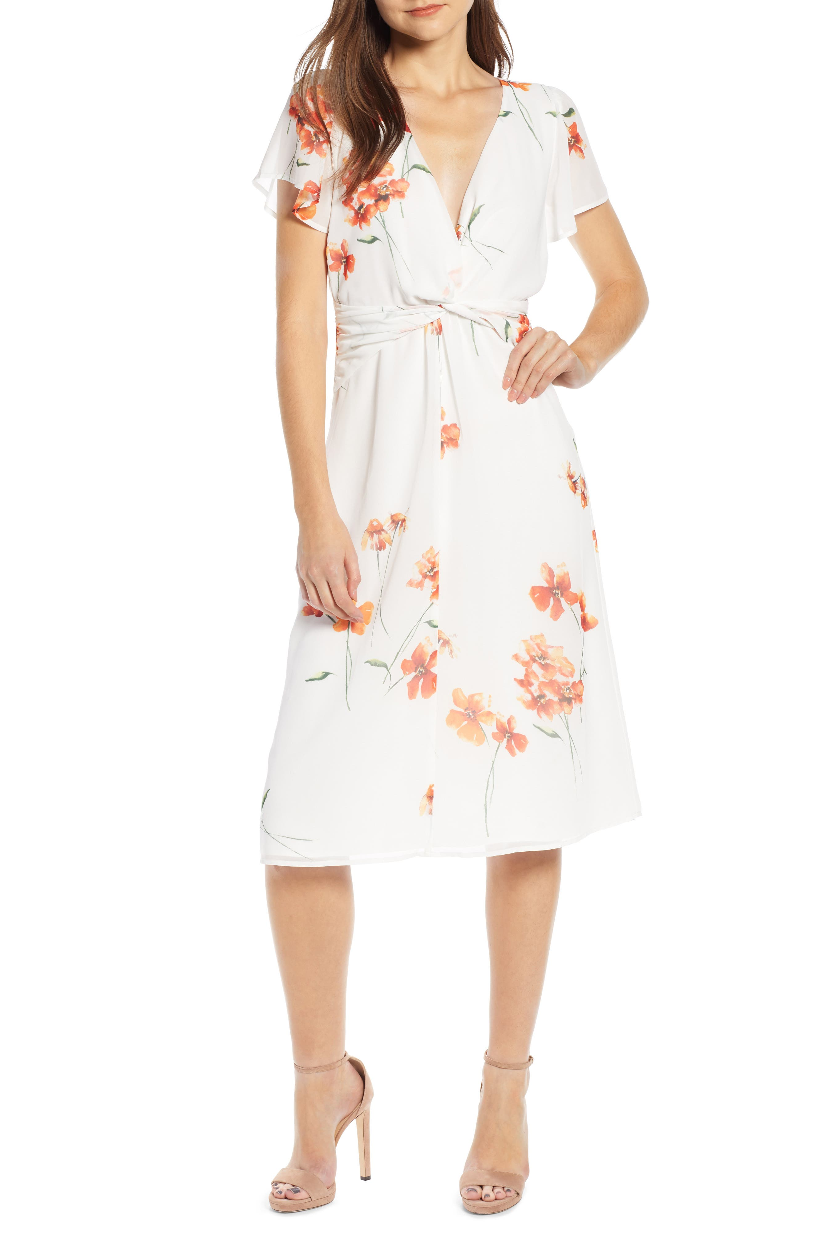 ROW A, Twist Front Midi Dress, Main thumbnail 1, color, IVORY ORANGE FLORAL