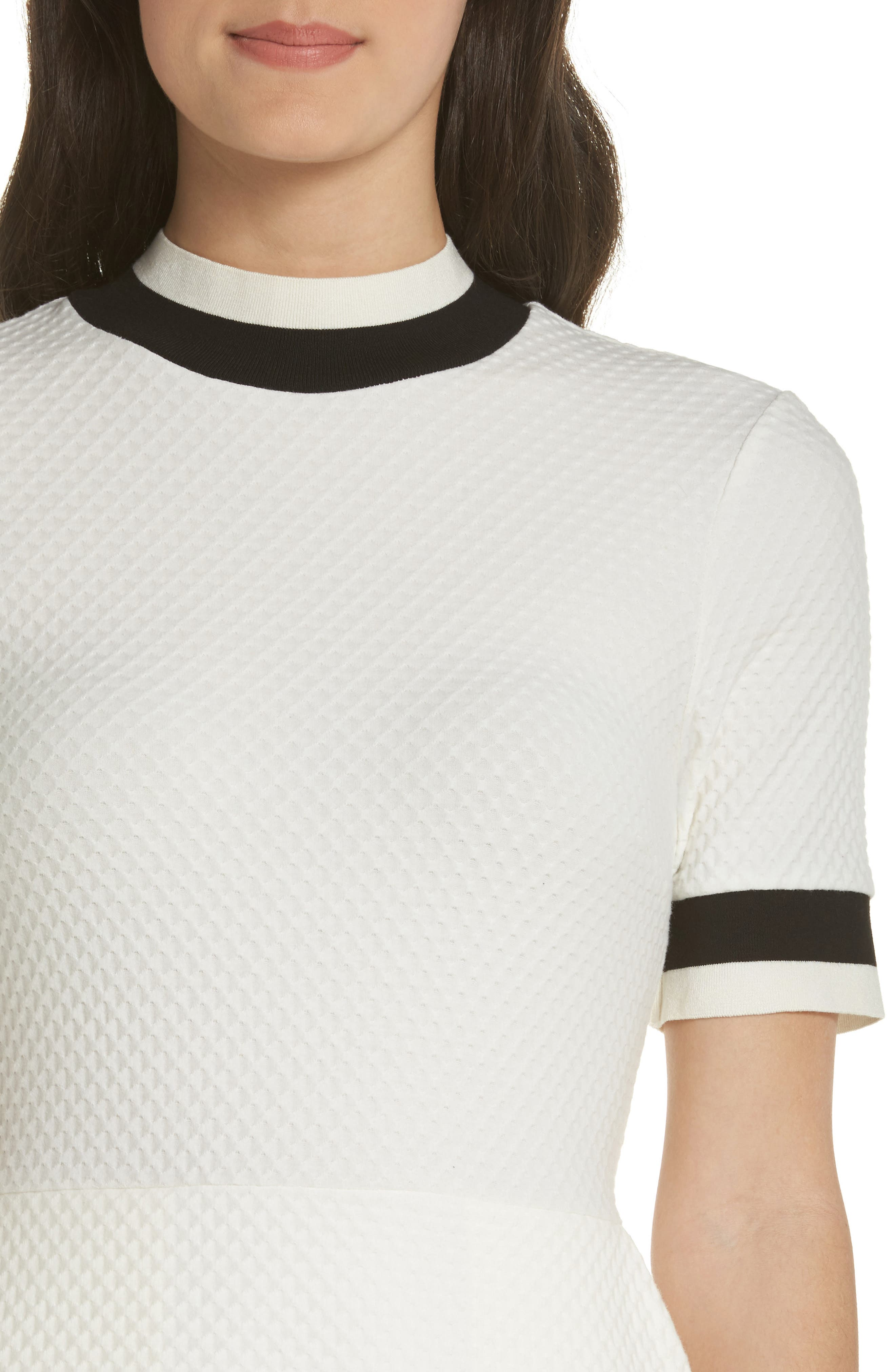 FRENCH CONNECTION, Savos Sudan Jersey Dress, Alternate thumbnail 5, color, BLACK/ SUMMER WHITE
