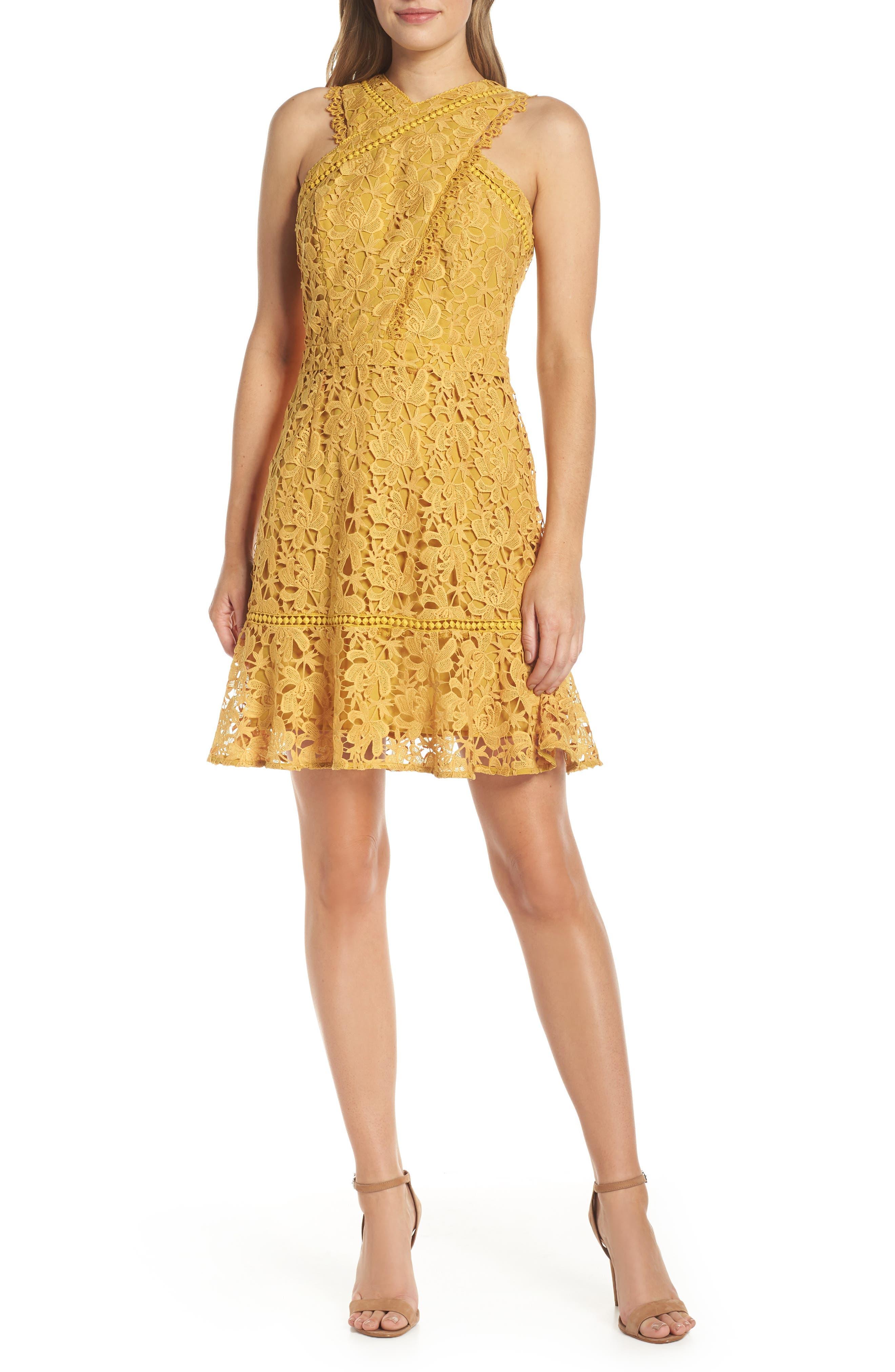 Adelyn Rae Jessie Crisscross Neck Lace Dress, Yellow