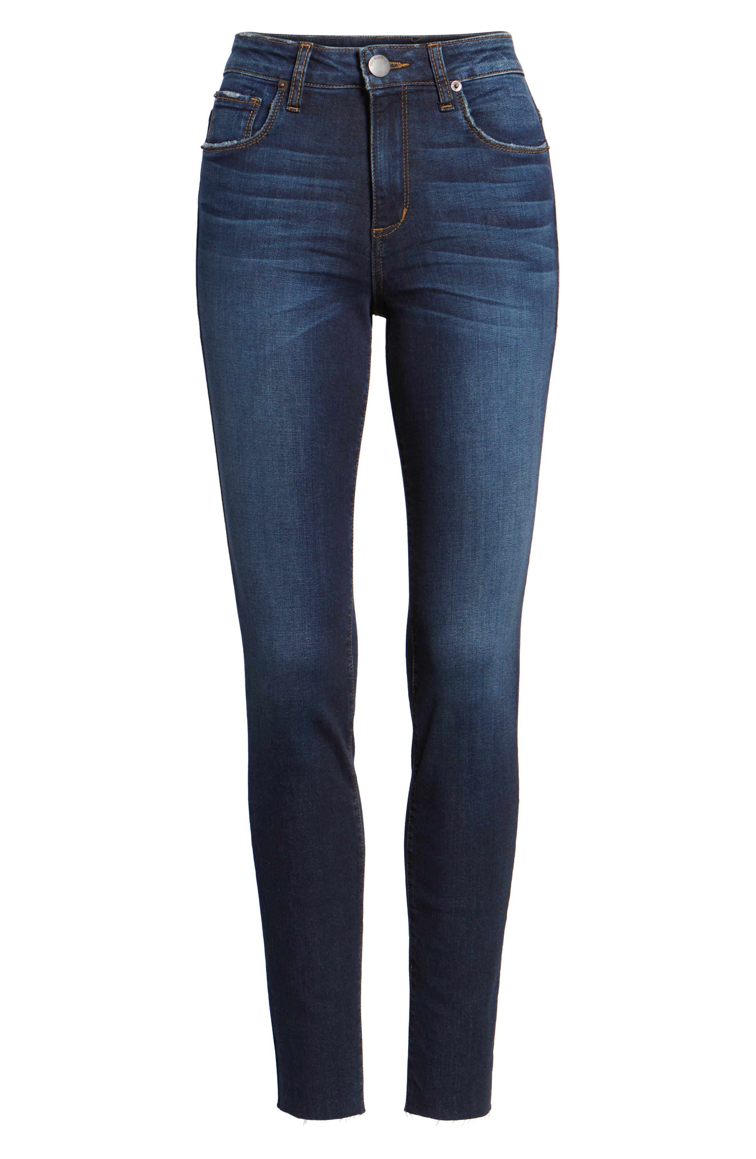 STS BLUE, Ellie High Waist Ankle Skinny Jeans, Alternate thumbnail 7, color, DENLEY