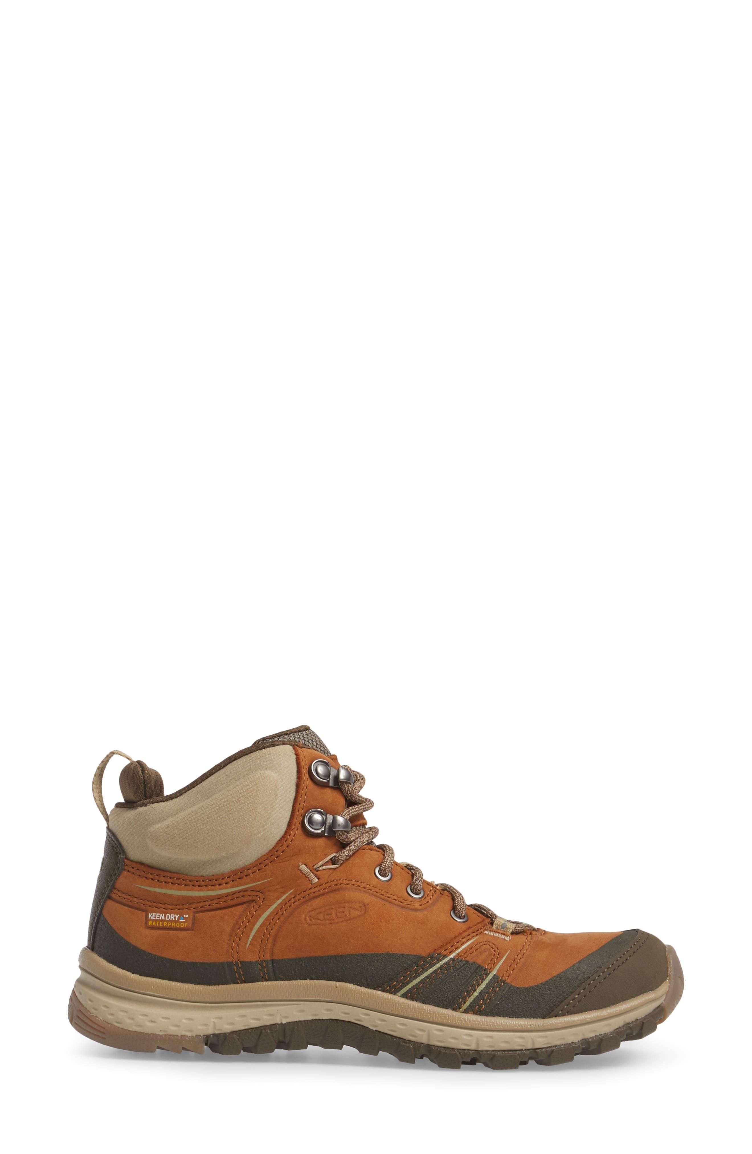 KEEN, Terradora Leather Waterproof Hiking Boot, Alternate thumbnail 3, color, TIMBER/ ORANGE NUBUCK