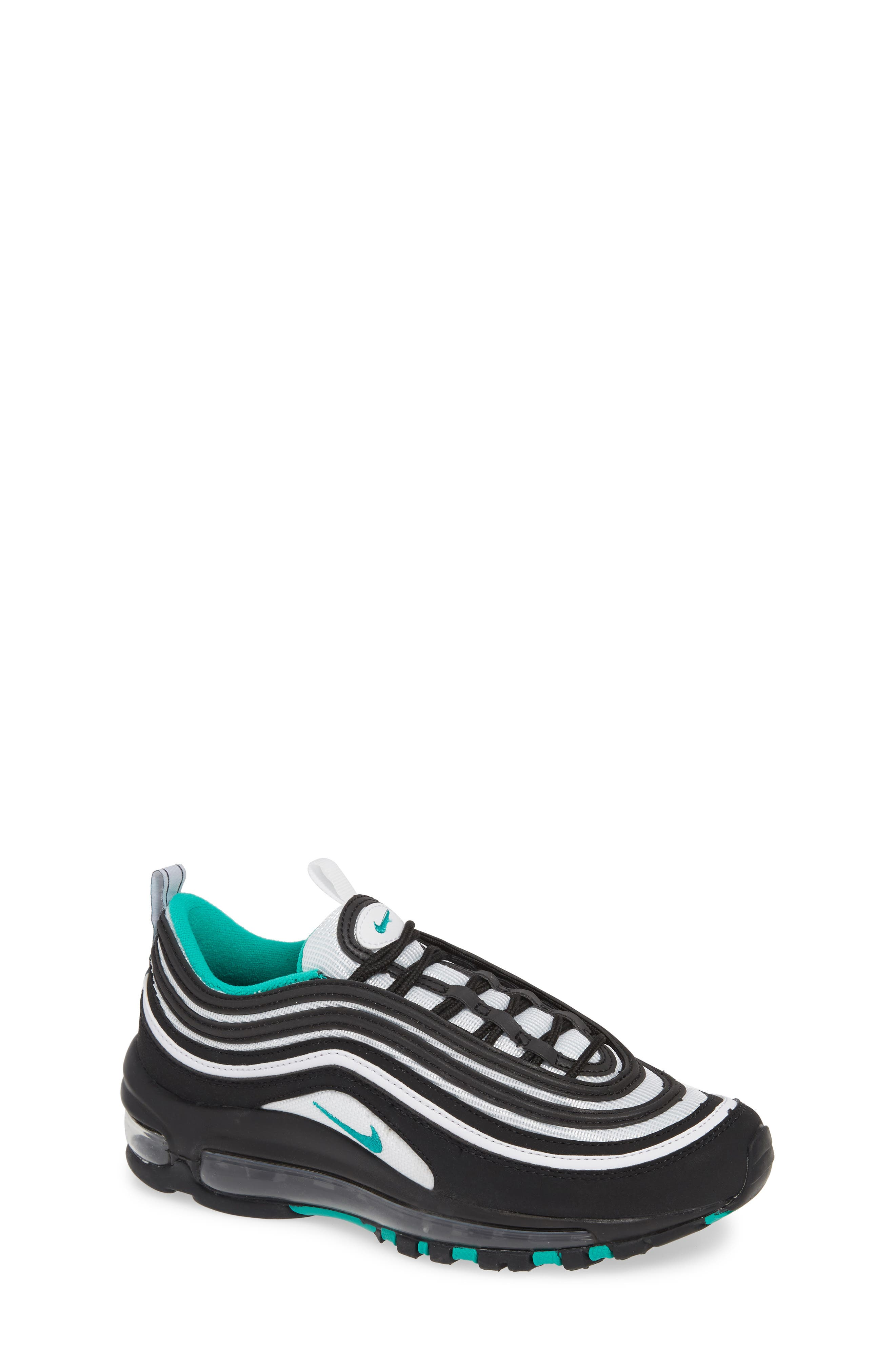 NIKE, Air Max 97 Sneaker, Main thumbnail 1, color, BLACK/ CLEAR EMERALD-WHITE