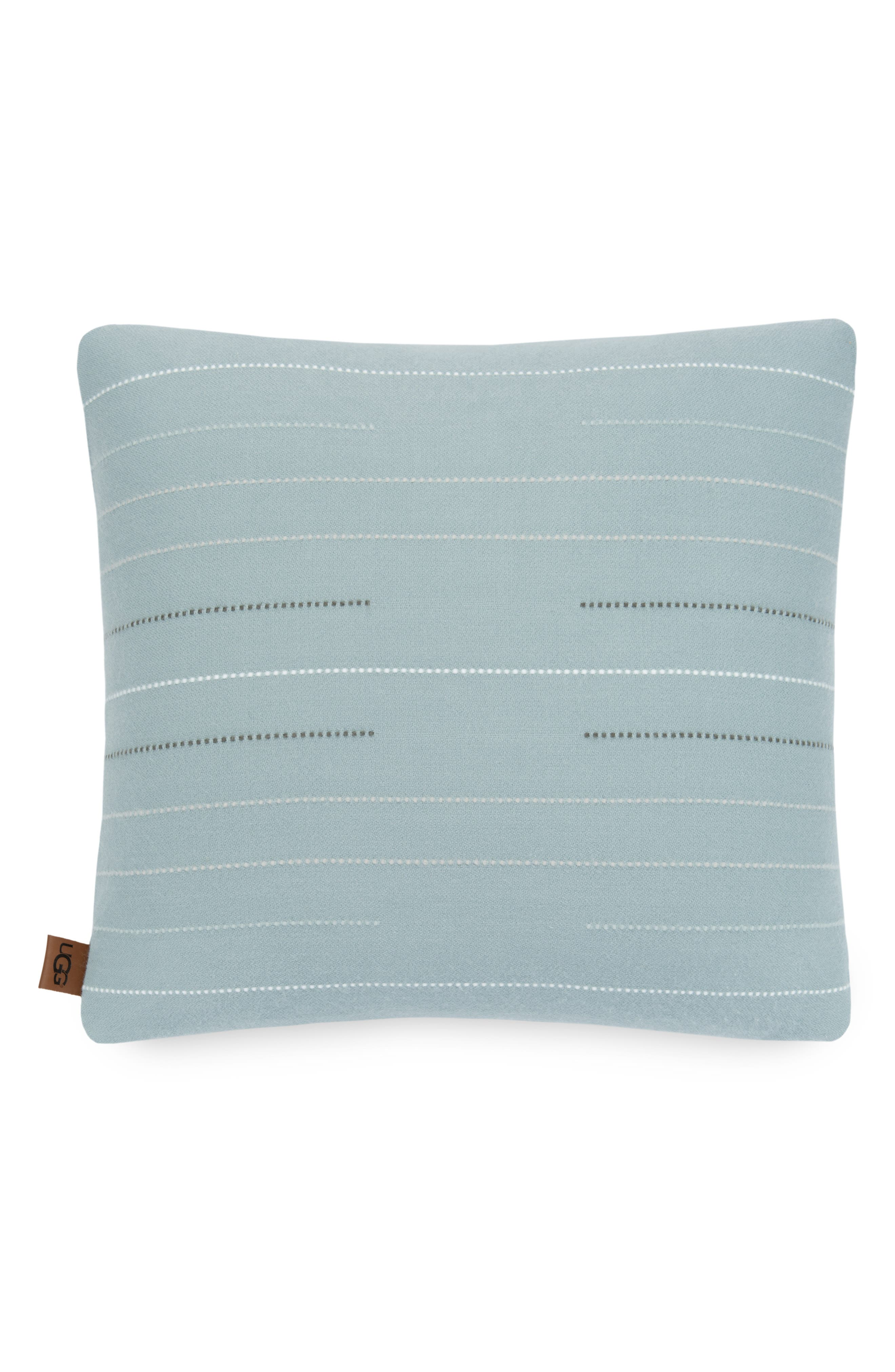 UGG<SUP>®</SUP>, Emory Stitch Stripe Accent Pillow, Main thumbnail 1, color, SLATE MULTI