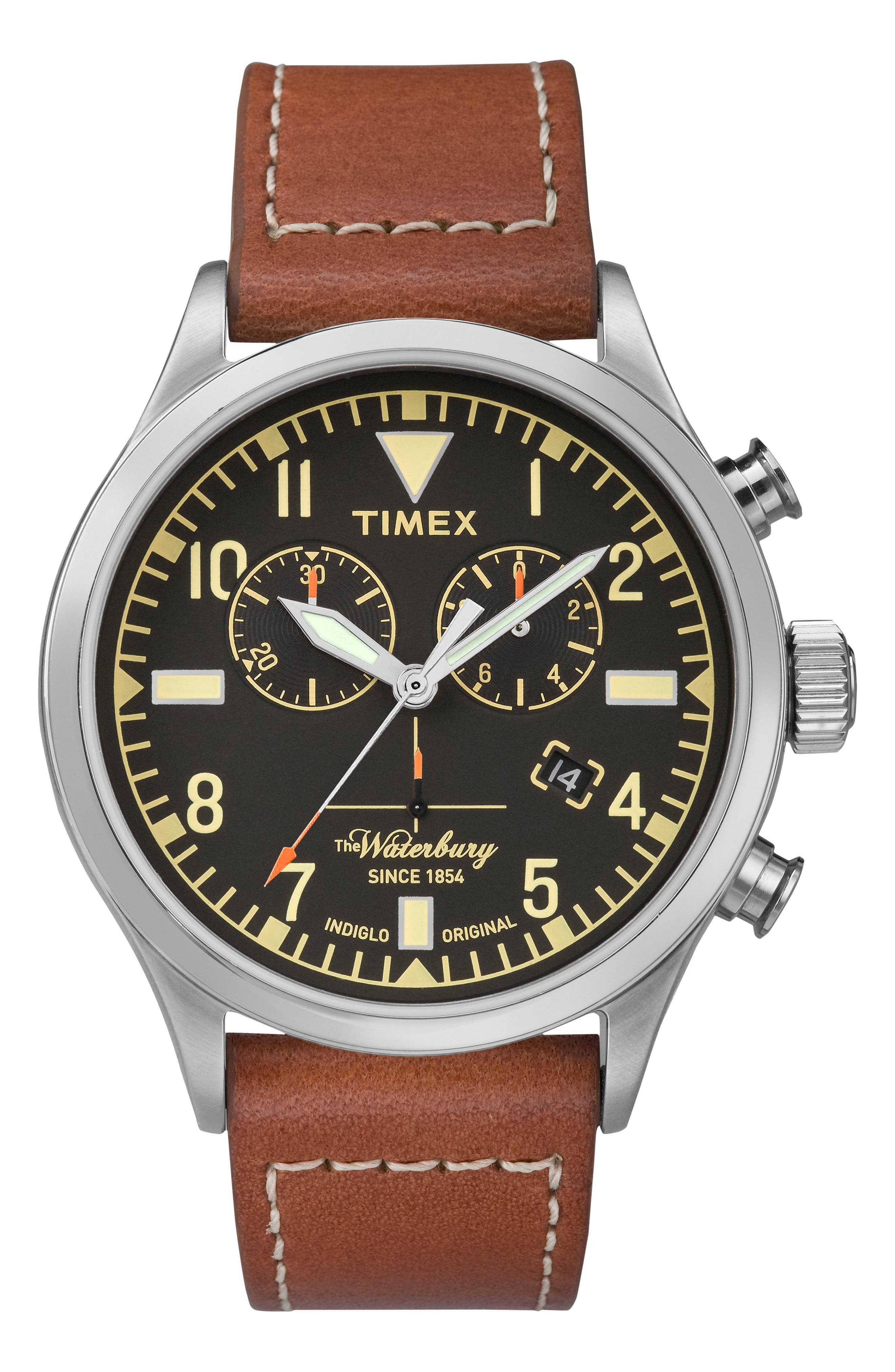 TIMEX<SUP>®</SUP>, Waterbury Chronograph Leather Strap Watch, 42mm, Main thumbnail 1, color, RUST/ BLACK/ SILVER