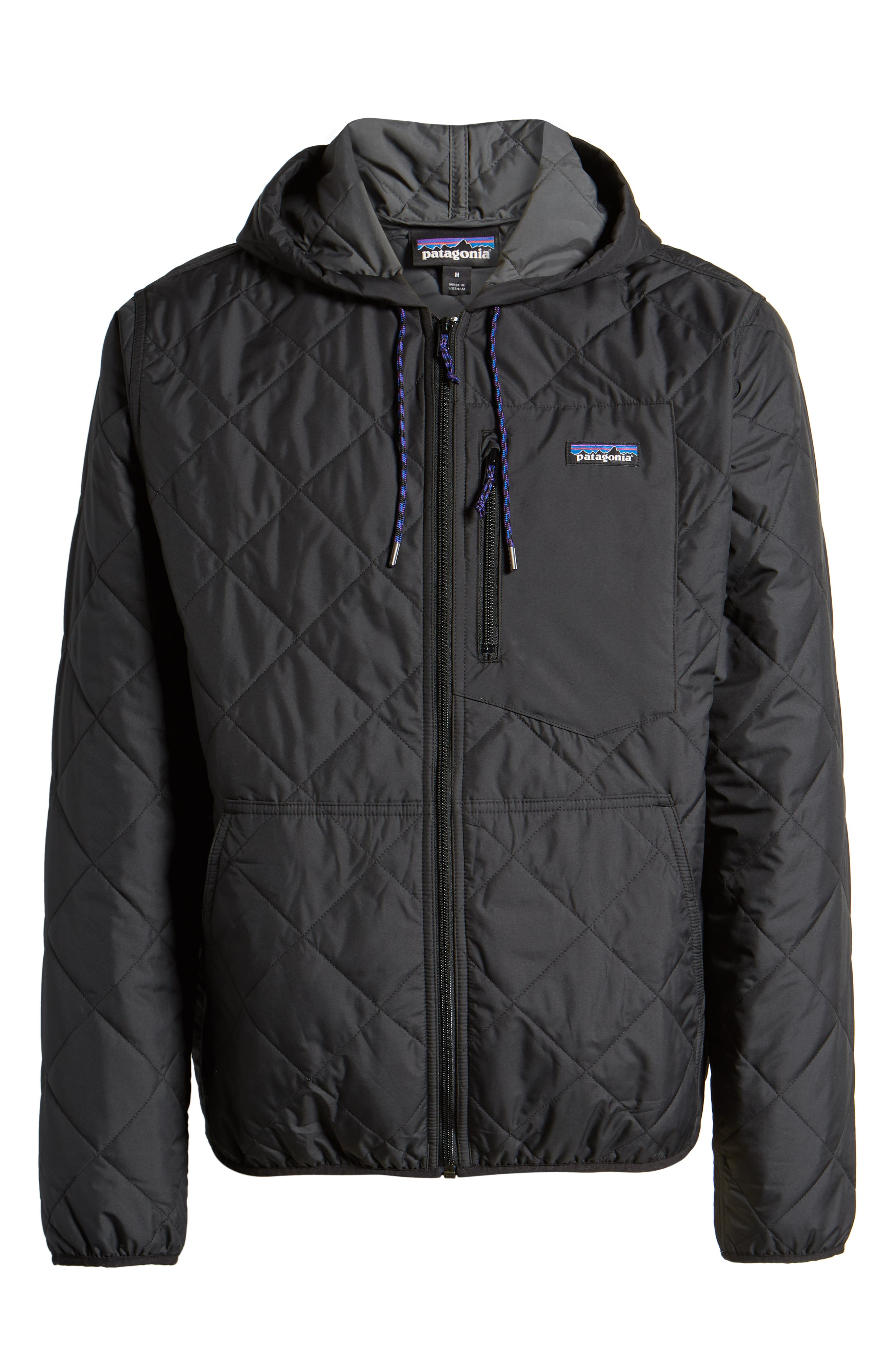 PATAGONIA, Diamond Quilt Ripstop Hooded Jacket, Alternate thumbnail 7, color, 001