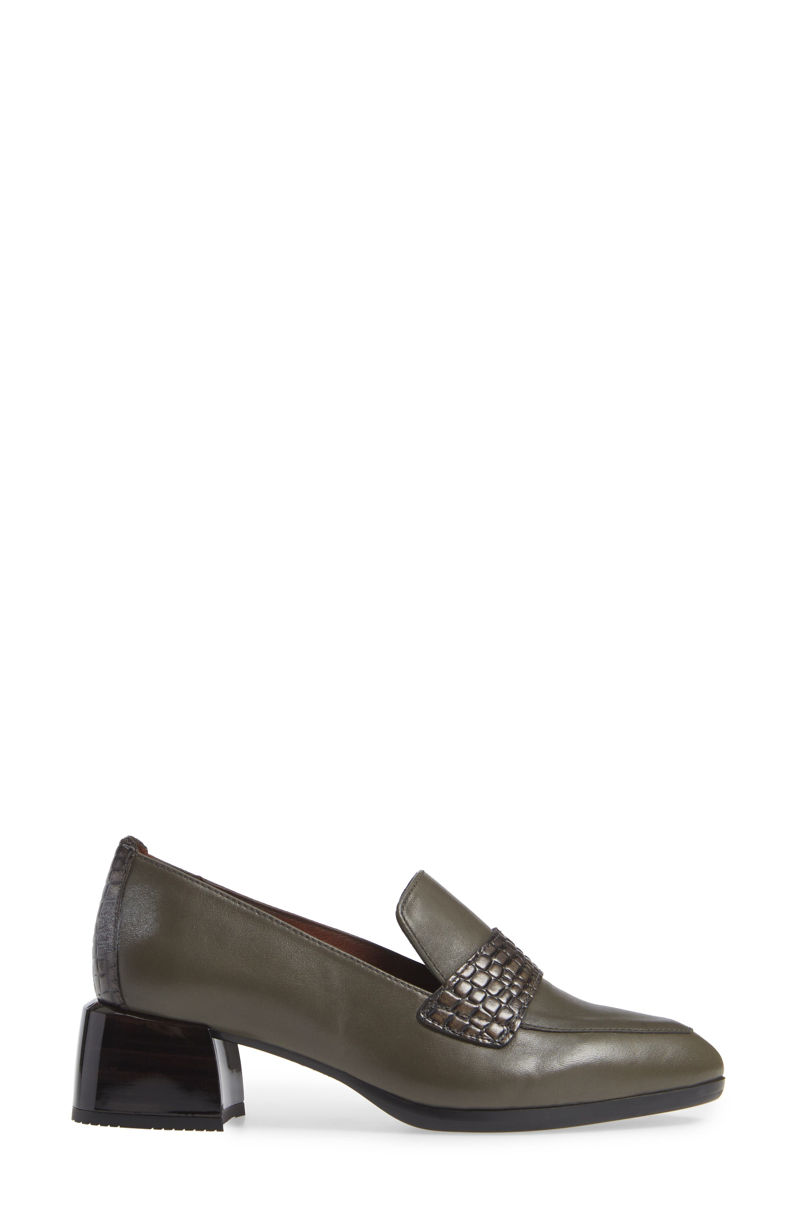 HISPANITAS, Gabrianna Block Heel Loafer, Alternate thumbnail 3, color, SOHO ARMY/ CAIMAN ARMY LEATHER