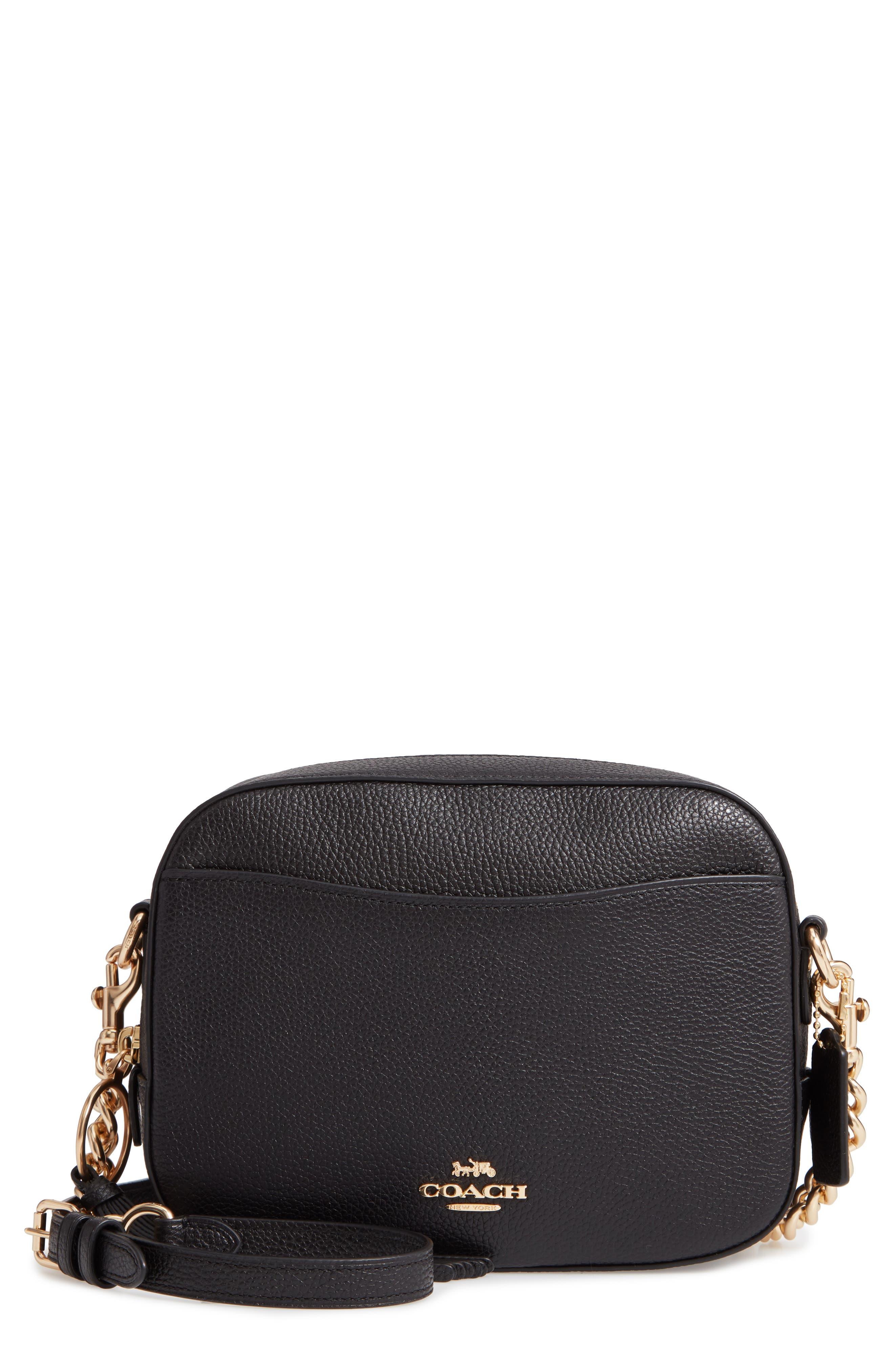 COACH, Pebbled Leather Camera Bag, Main thumbnail 1, color, BLACK