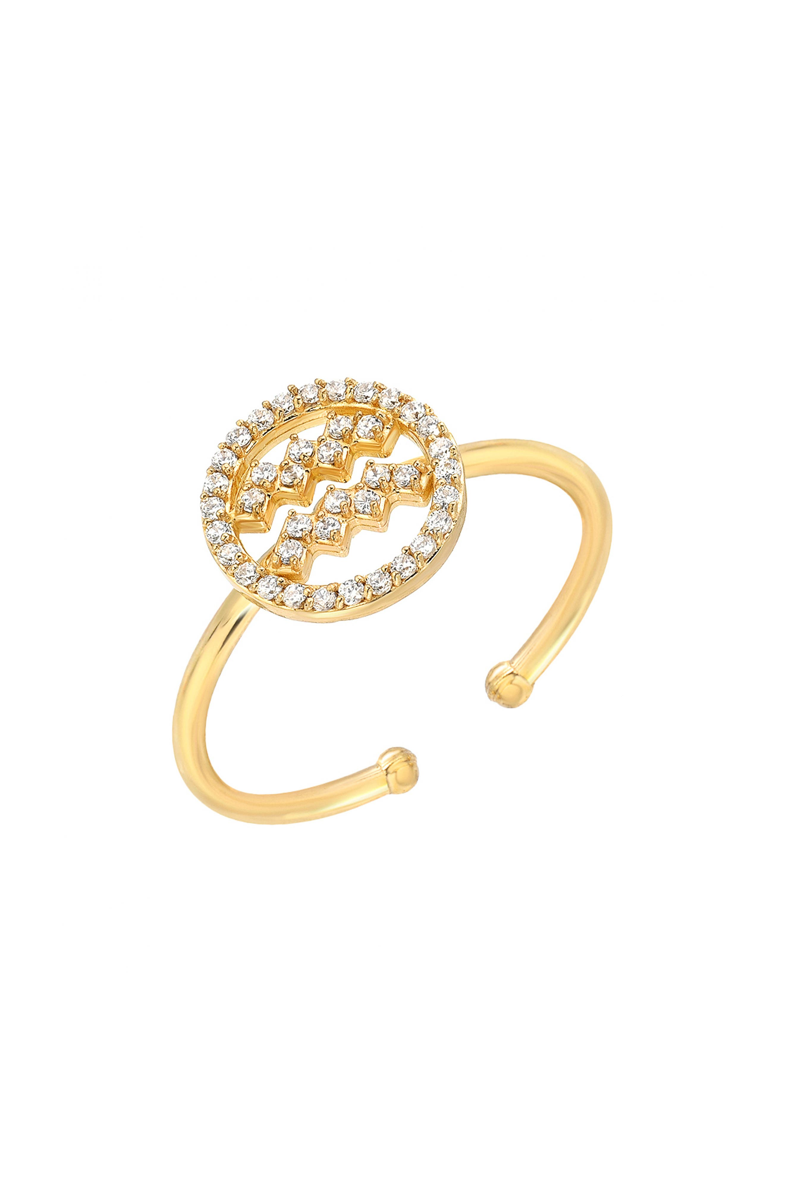 MINI MINI JEWELS, Halo Zodiac Sign Diamond Ring, Main thumbnail 1, color, YELLOW GOLD-AQUARIUS