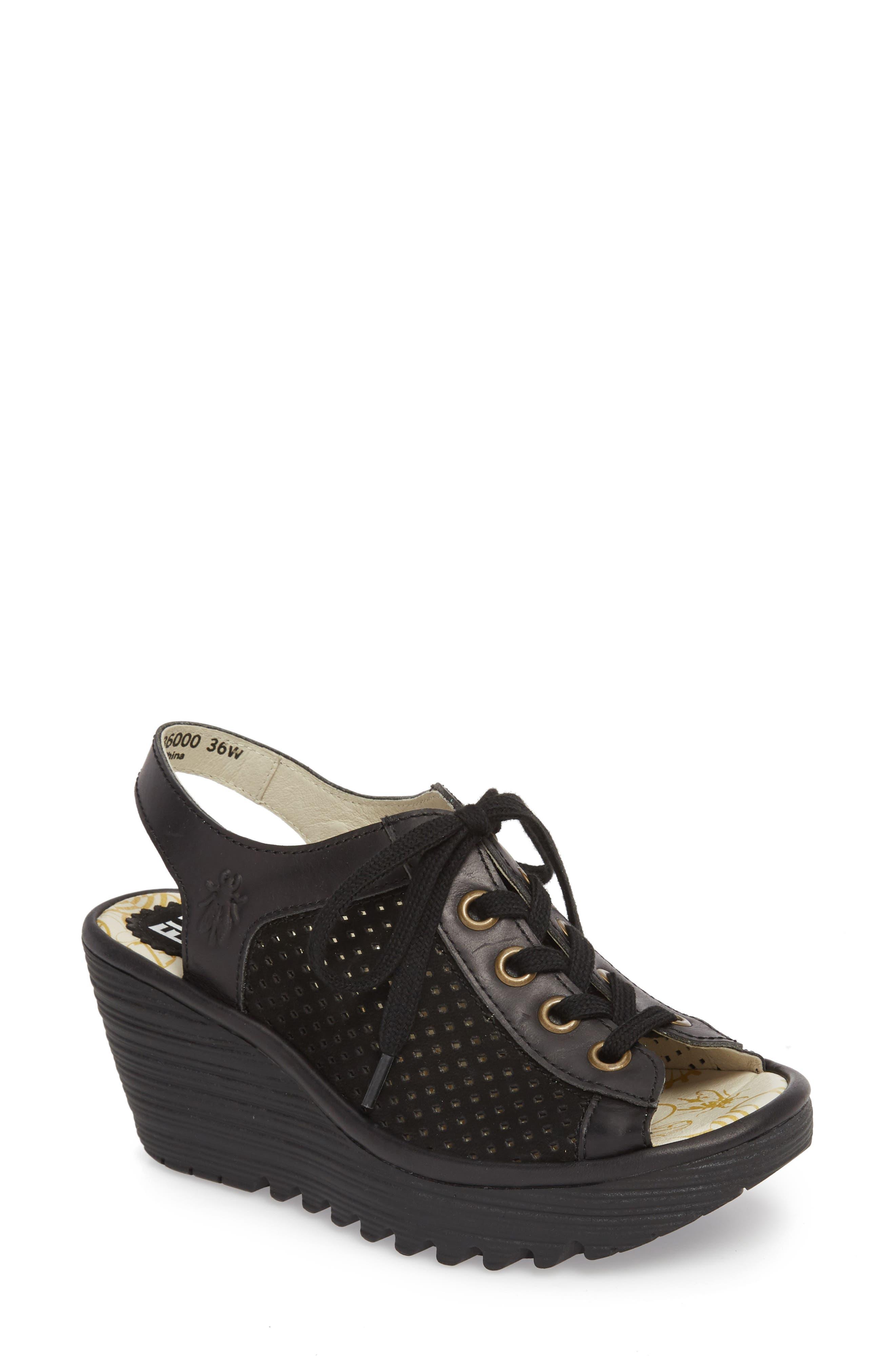 FLY LONDON Yeki Sandal, Main, color, BLACK CUPIDO/ RUG LEATHER