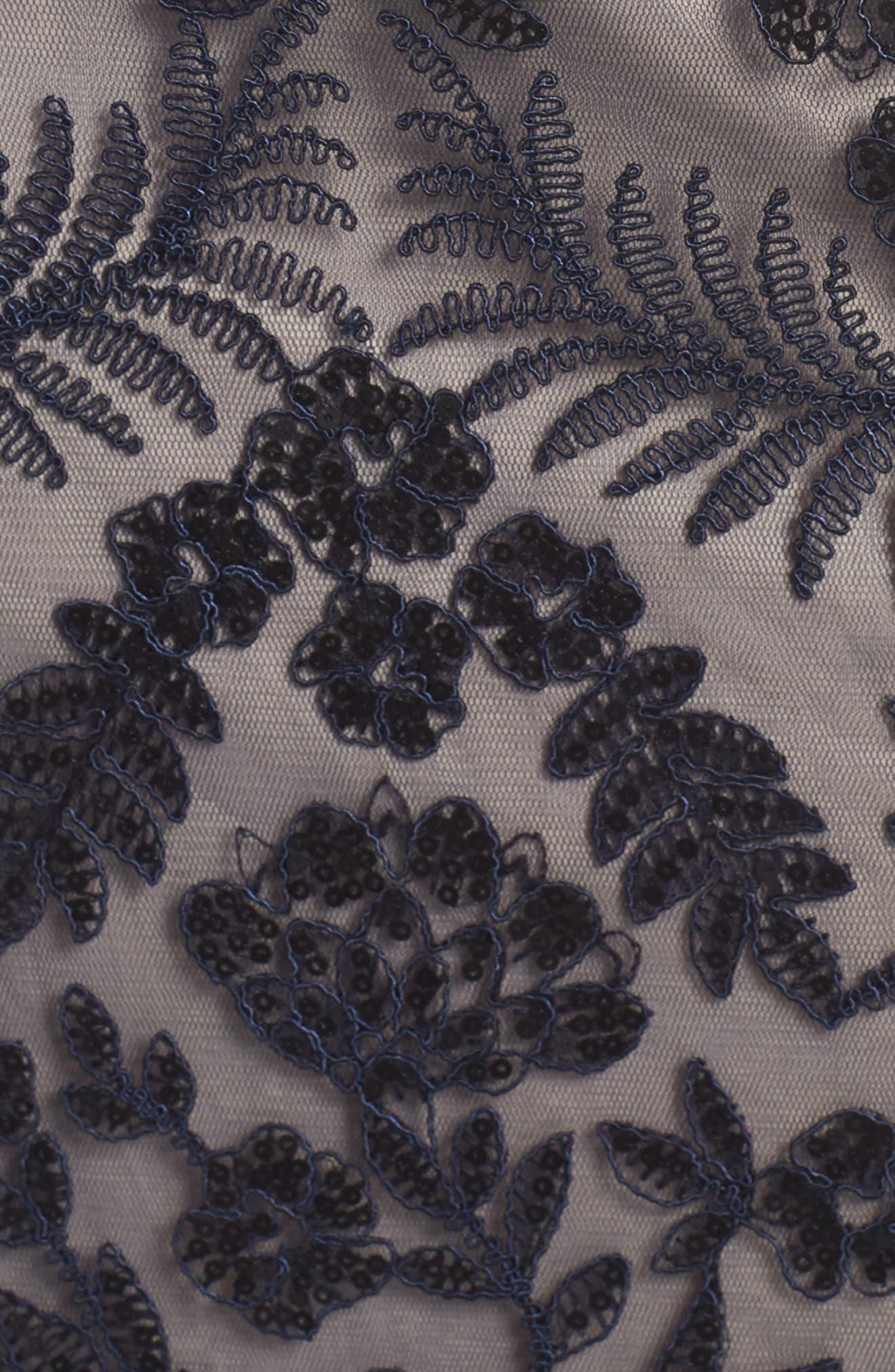 TADASHI SHOJI, Illusion Neck Sequin Lace Gown, Alternate thumbnail 12, color, 410