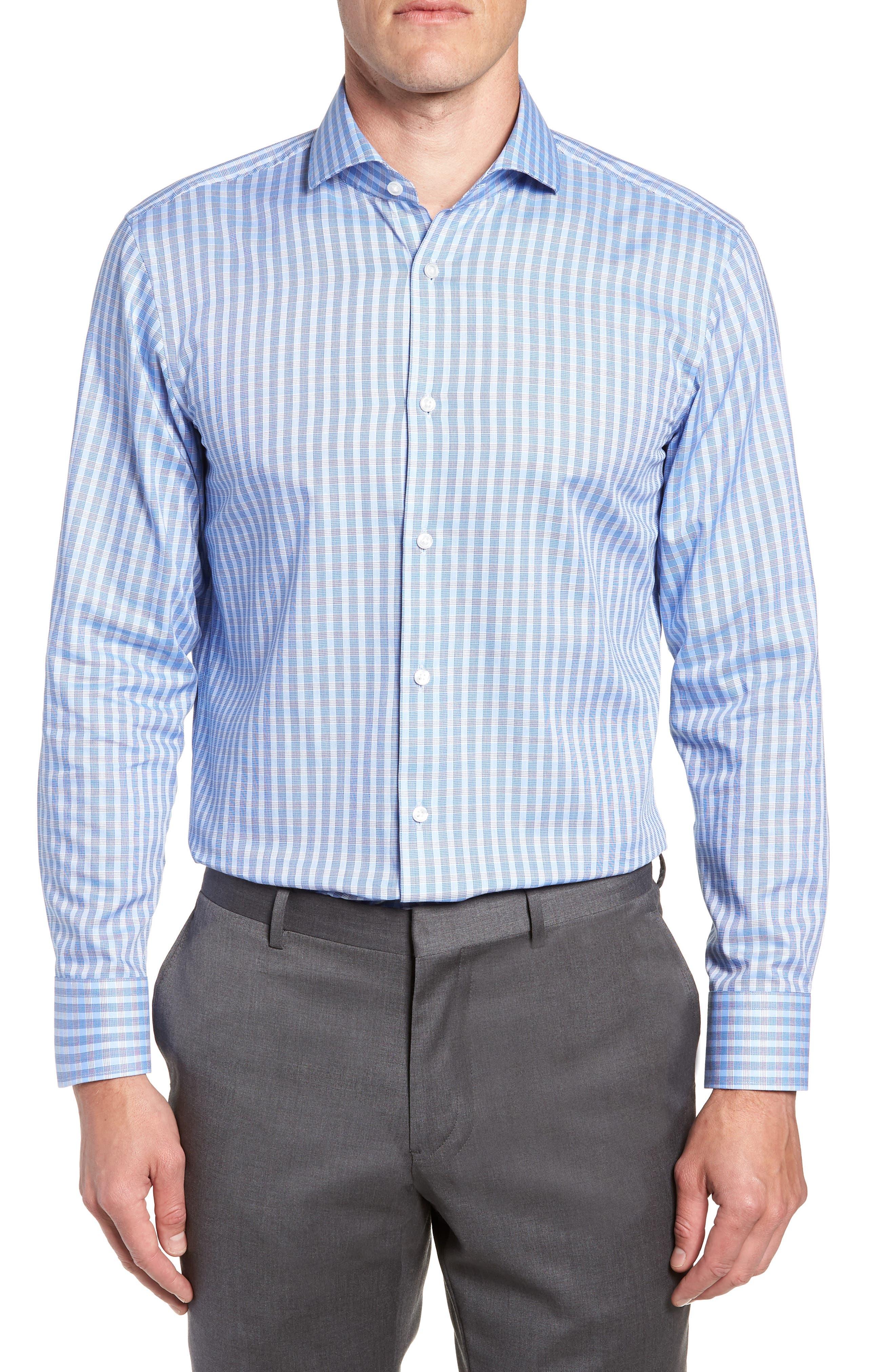 BOSS, Mark Sharp Fit Check Dress Shirt, Main thumbnail 1, color, BLUE