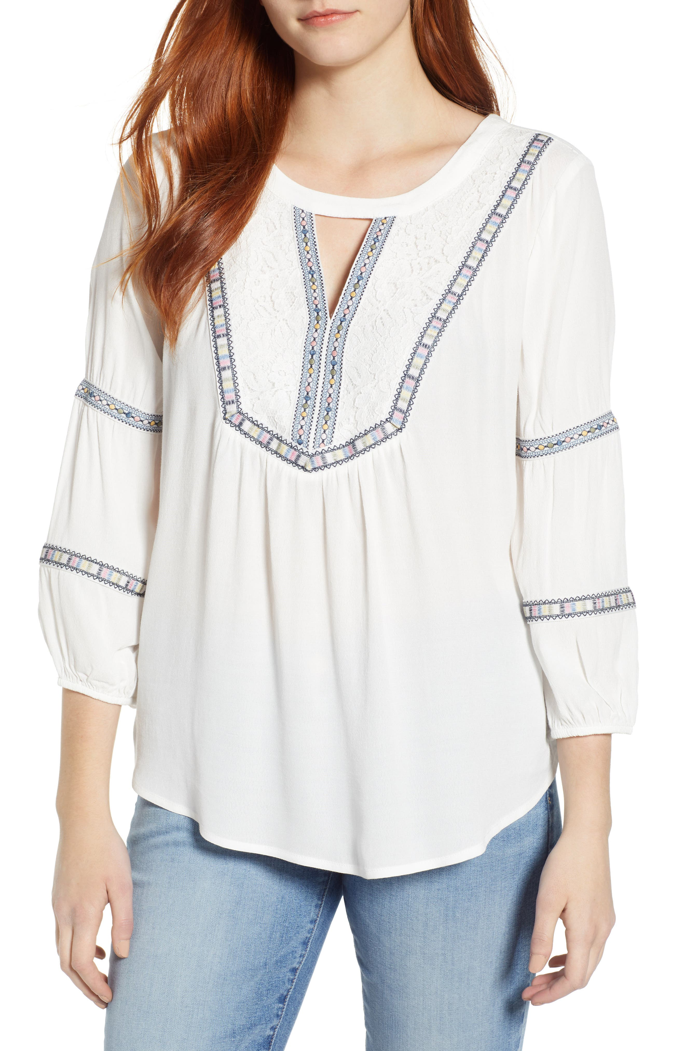 WIT & WISDOM Embroidered Tunic, Main, color, OFF WHITE