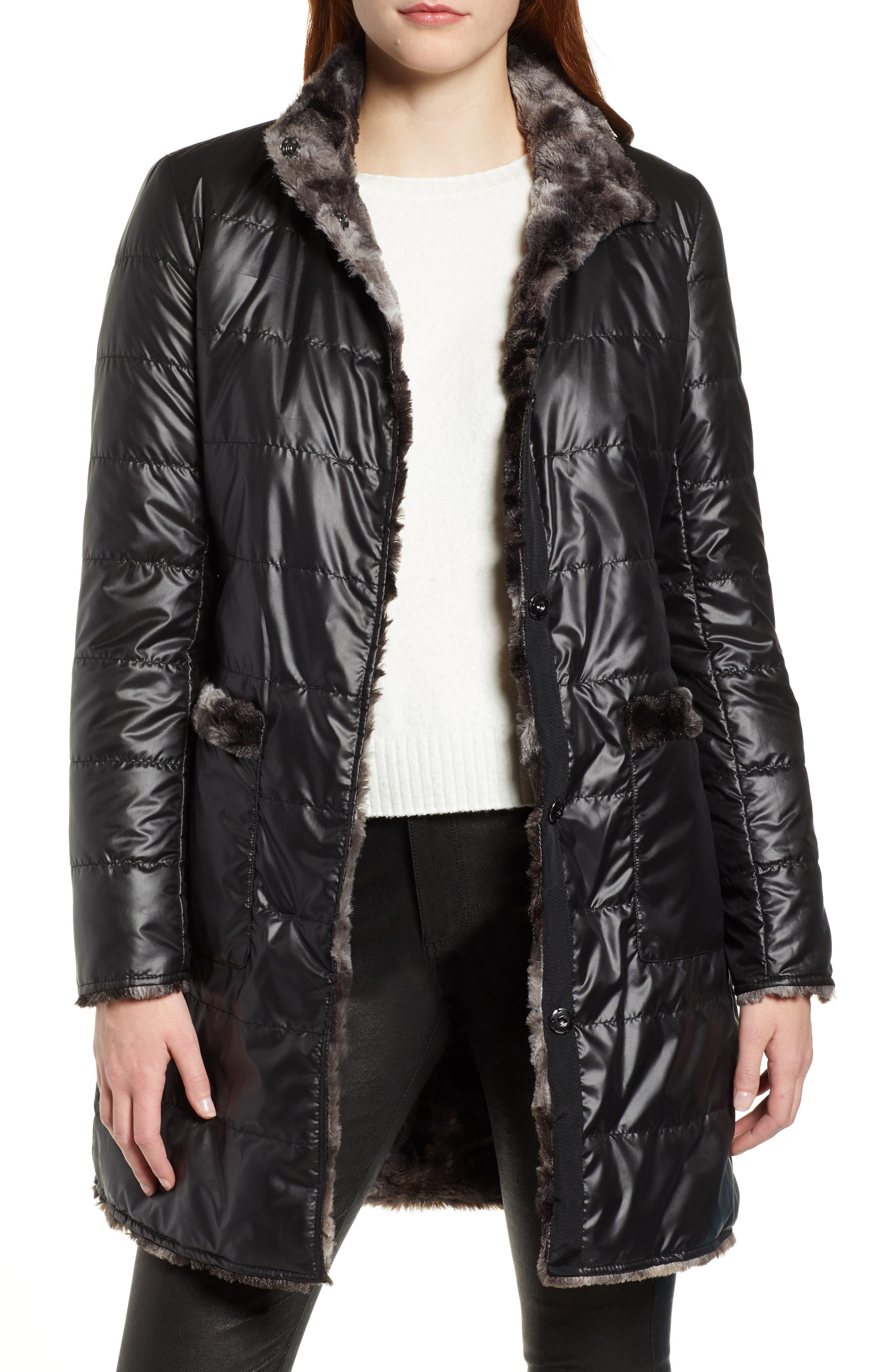 VIA SPIGA, Reversible Faux Marled Fur Coat, Alternate thumbnail 2, color, MARLED