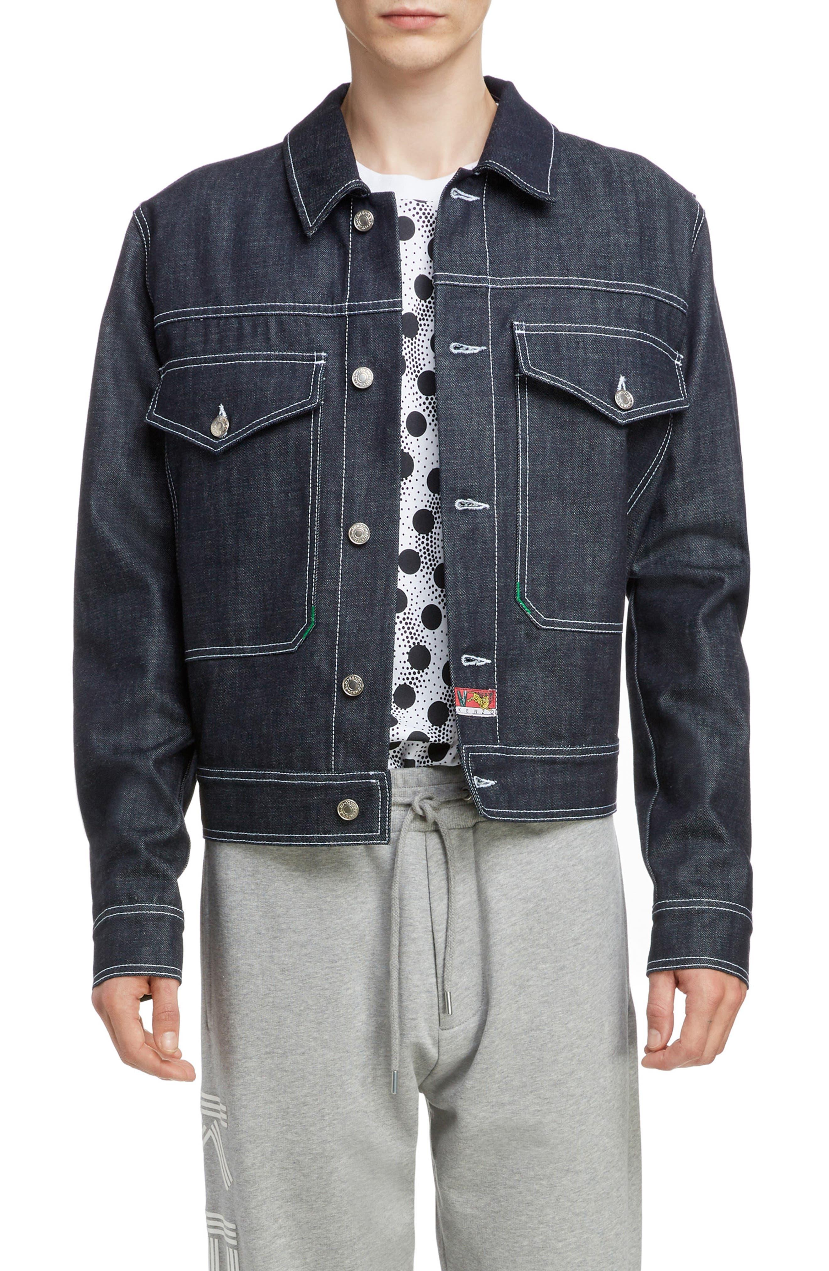 KENZO, Jumping Tiger Embroidered Denim Jacket, Main thumbnail 1, color, NAVY BLUE