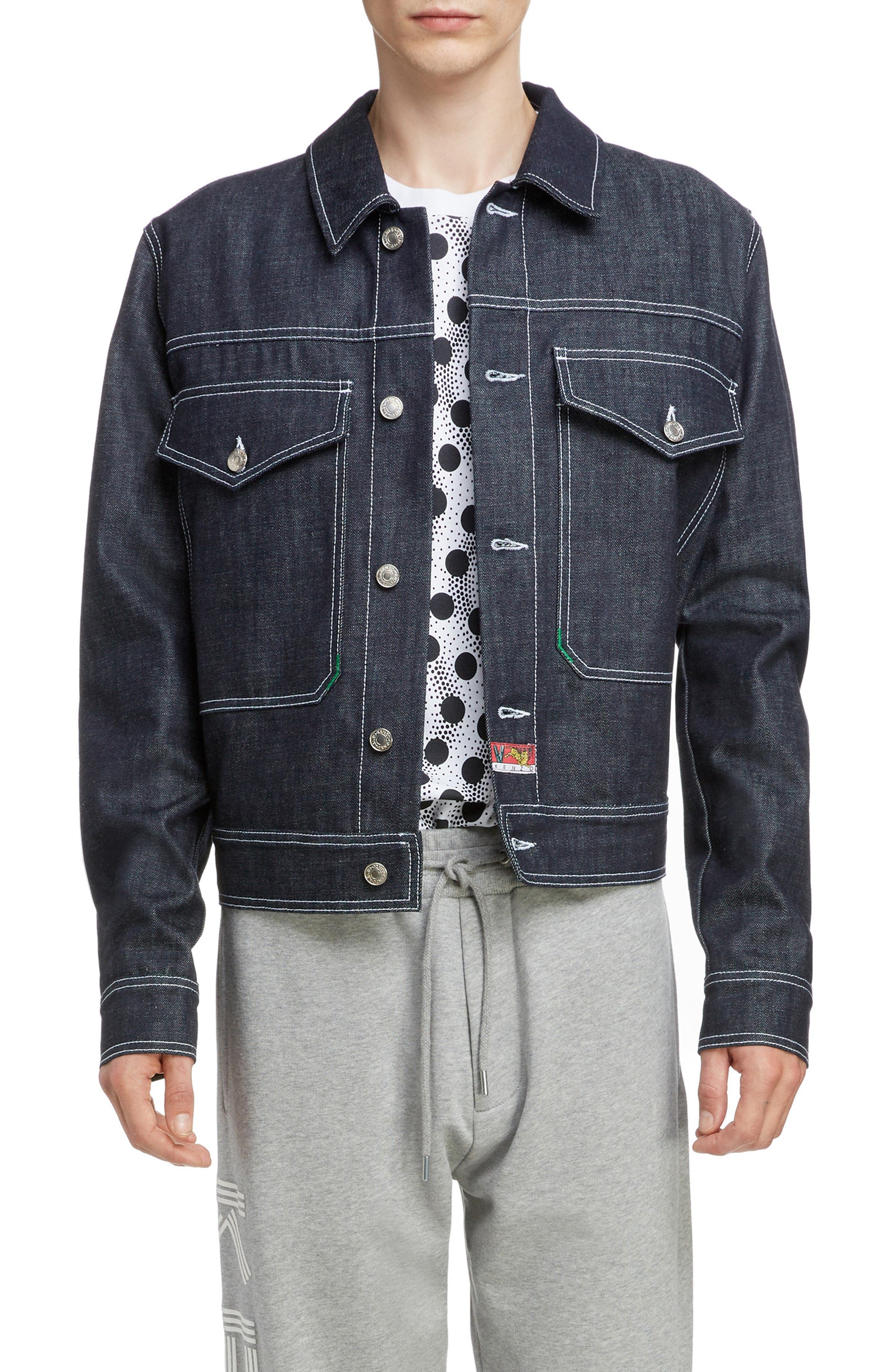 KENZO Jumping Tiger Embroidered Denim Jacket, Main, color, NAVY BLUE
