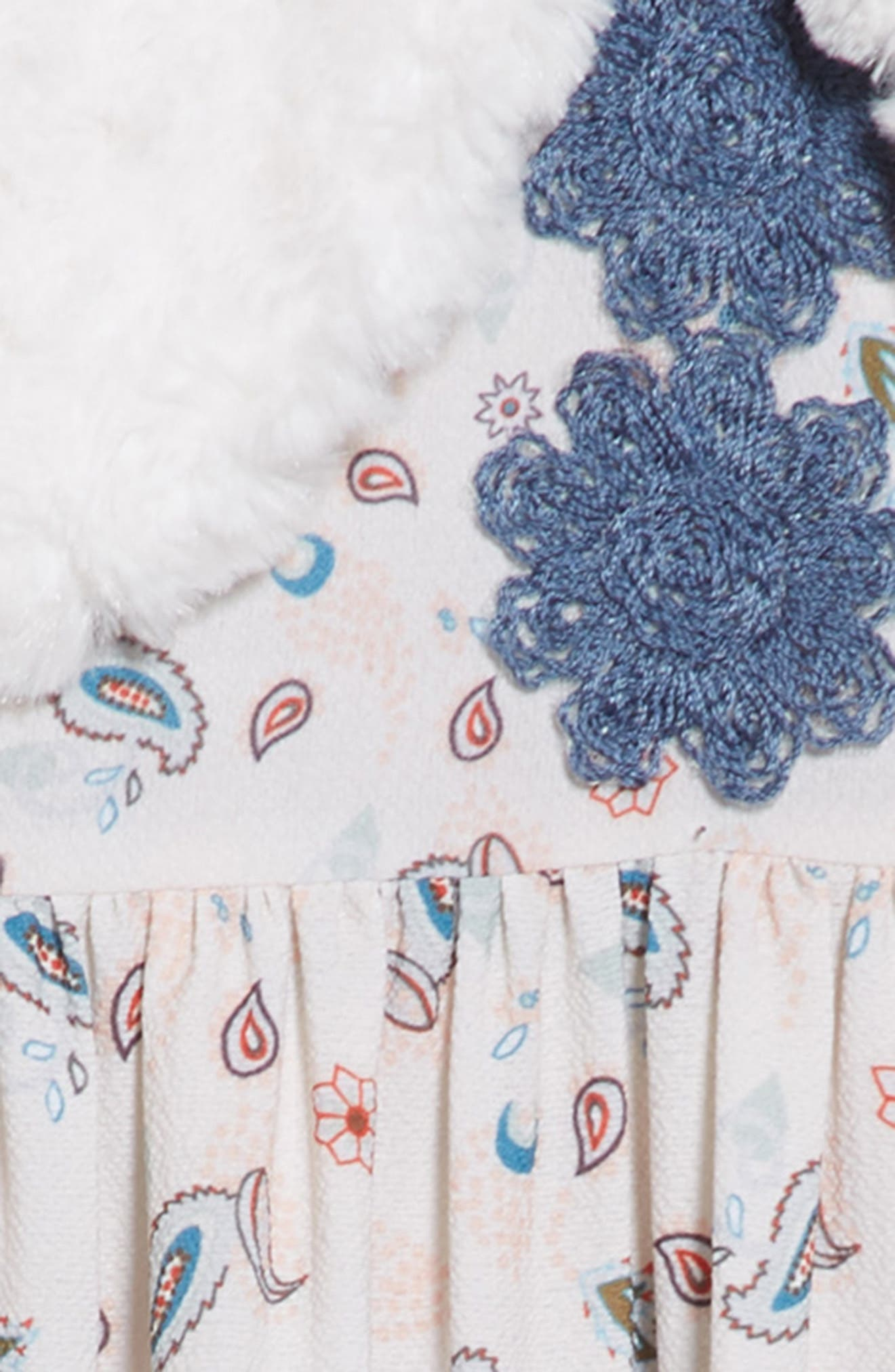 PIPPA & JULIE, Boho Paisley Dress & Faux Fur Vest Set, Alternate thumbnail 4, color, 900