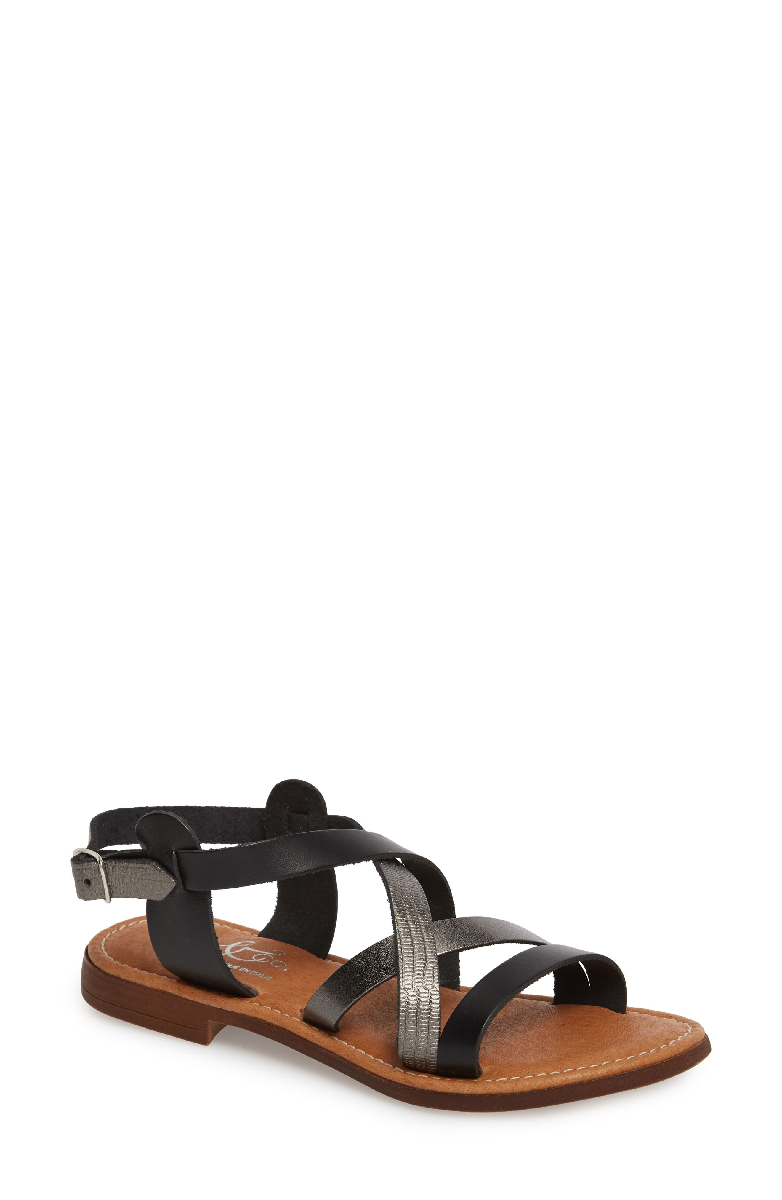 BOS. & CO., Ionna Sandal, Main thumbnail 1, color, BLACK/ PEWTER SNAKE LEATHER