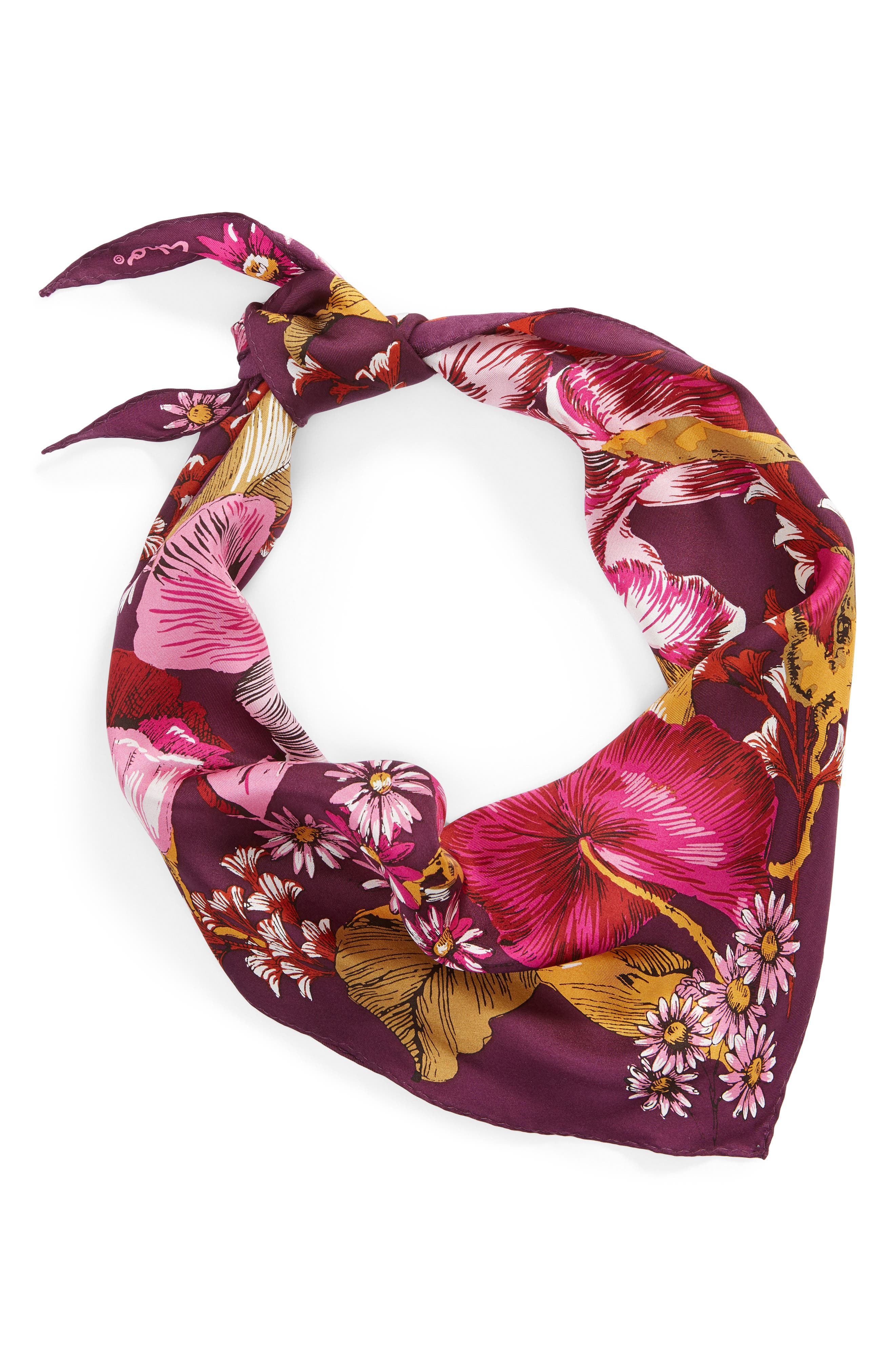 ECHO, Mumbai Floral Silk Diamond Scarf, Alternate thumbnail 2, color, 510