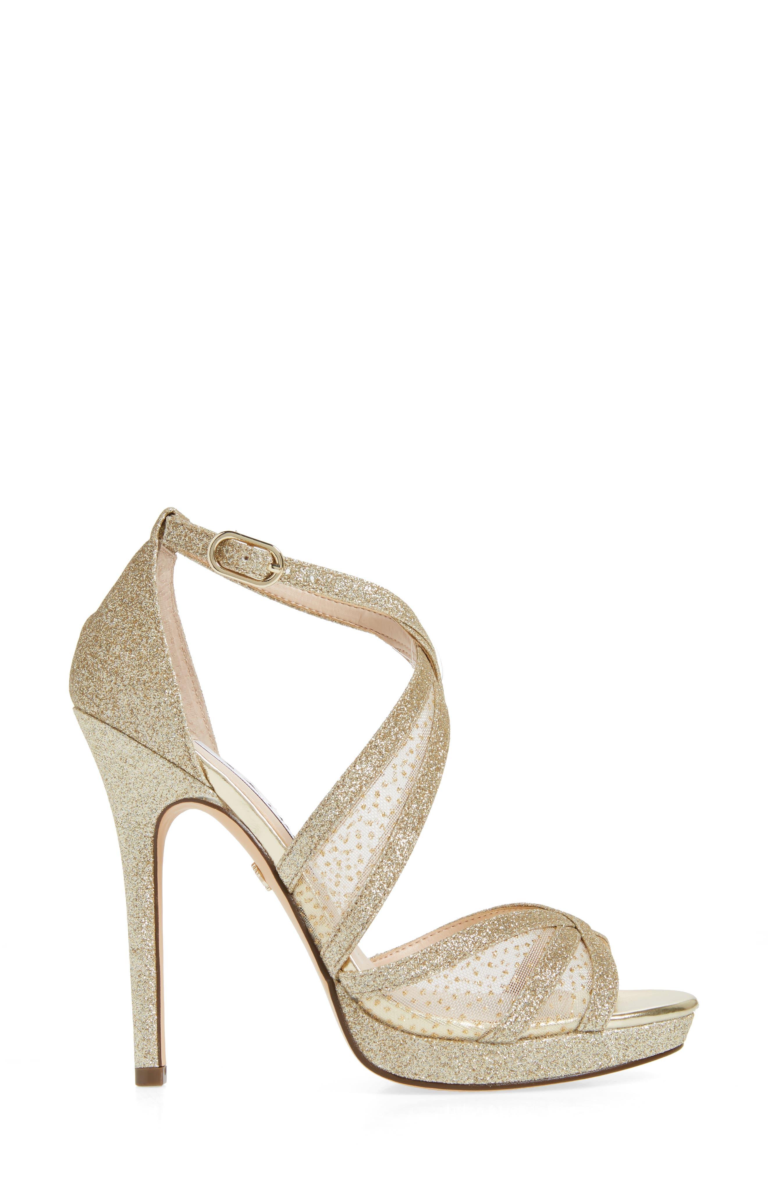 NINA, Fenna Strappy Platform Sandal, Alternate thumbnail 3, color, GOLD GLITTER FABRIC