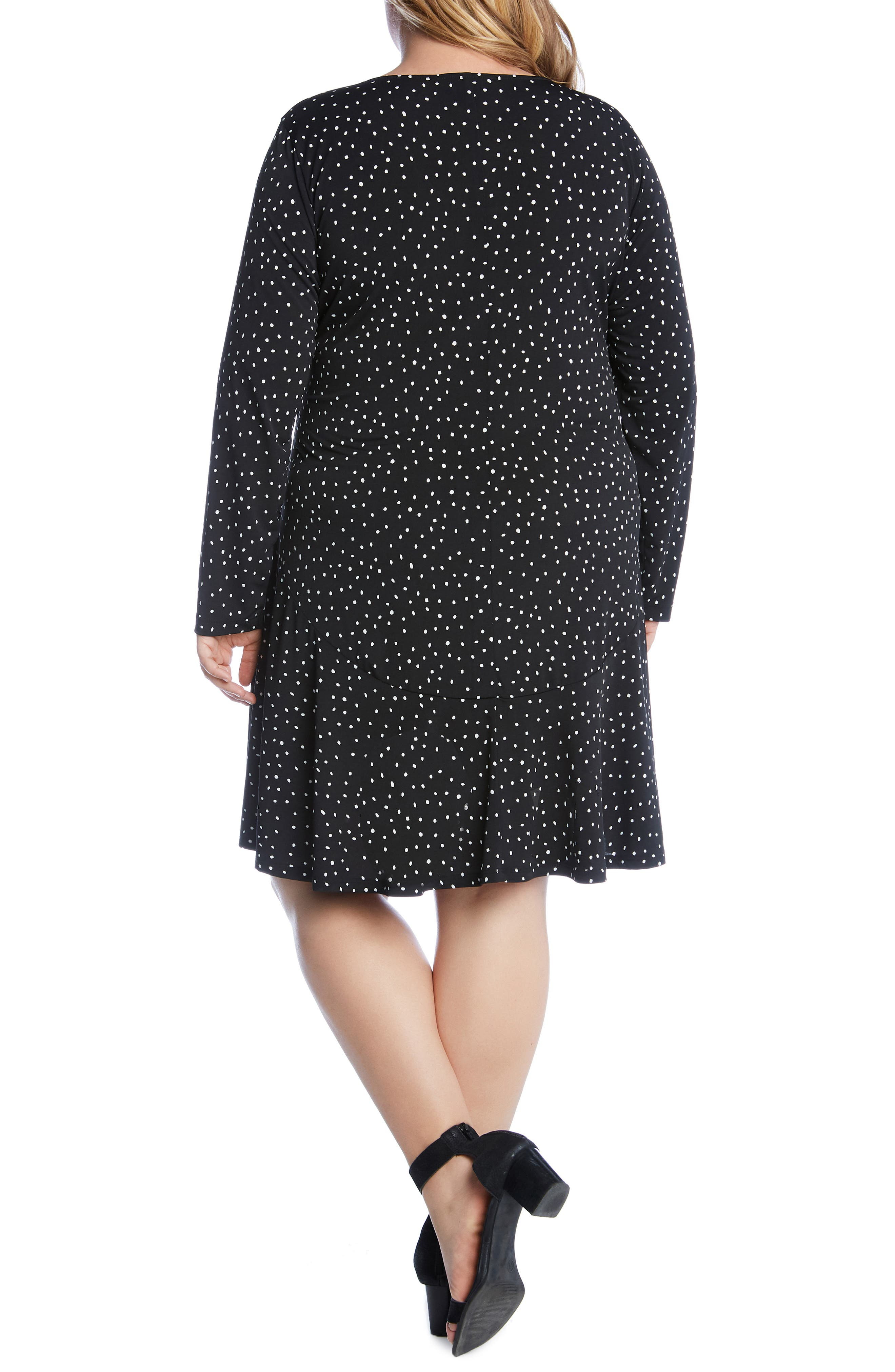 KAREN KANE, Dakota Dot Jersey A-Line Dress, Alternate thumbnail 2, color, DOT