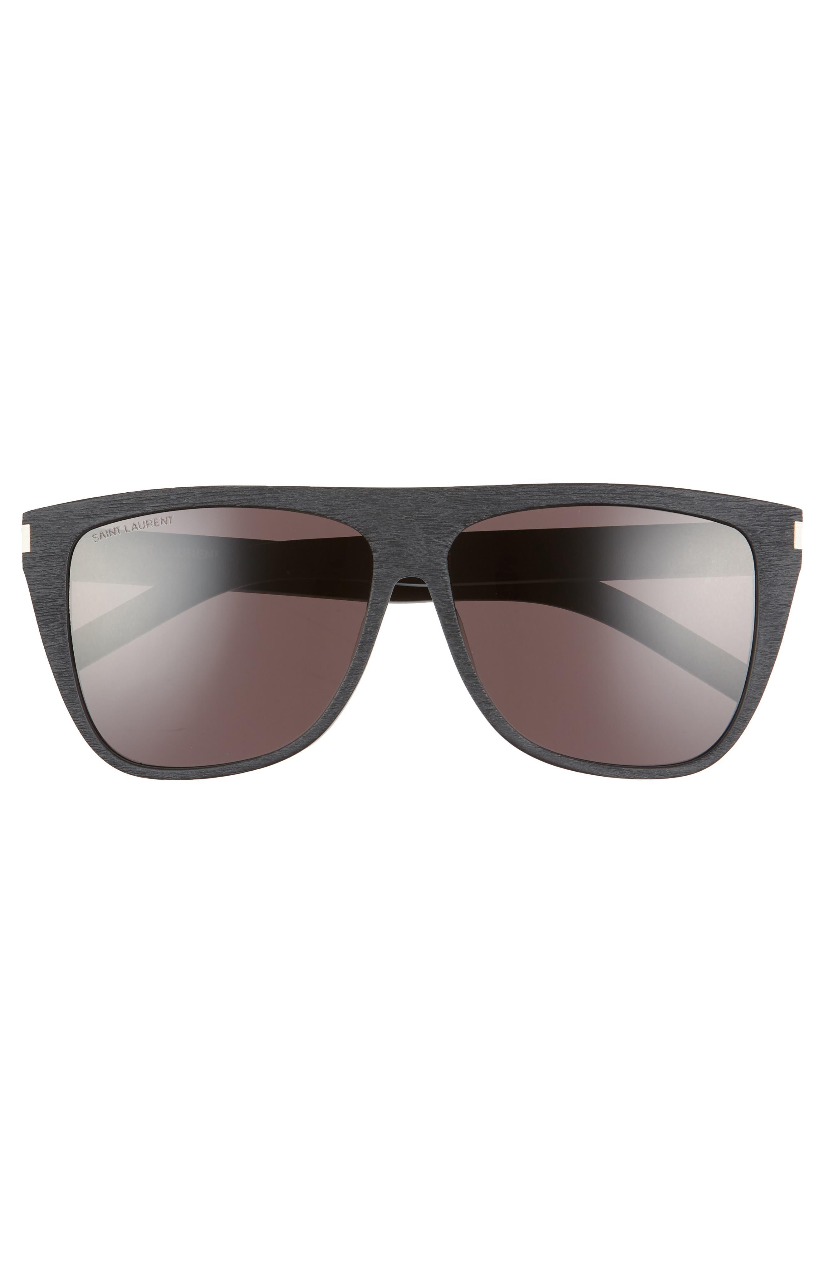 SAINT LAURENT, 59mm Sunglasses, Alternate thumbnail 3, color, WOOD EFFECT BLACK/ GREY SOLID