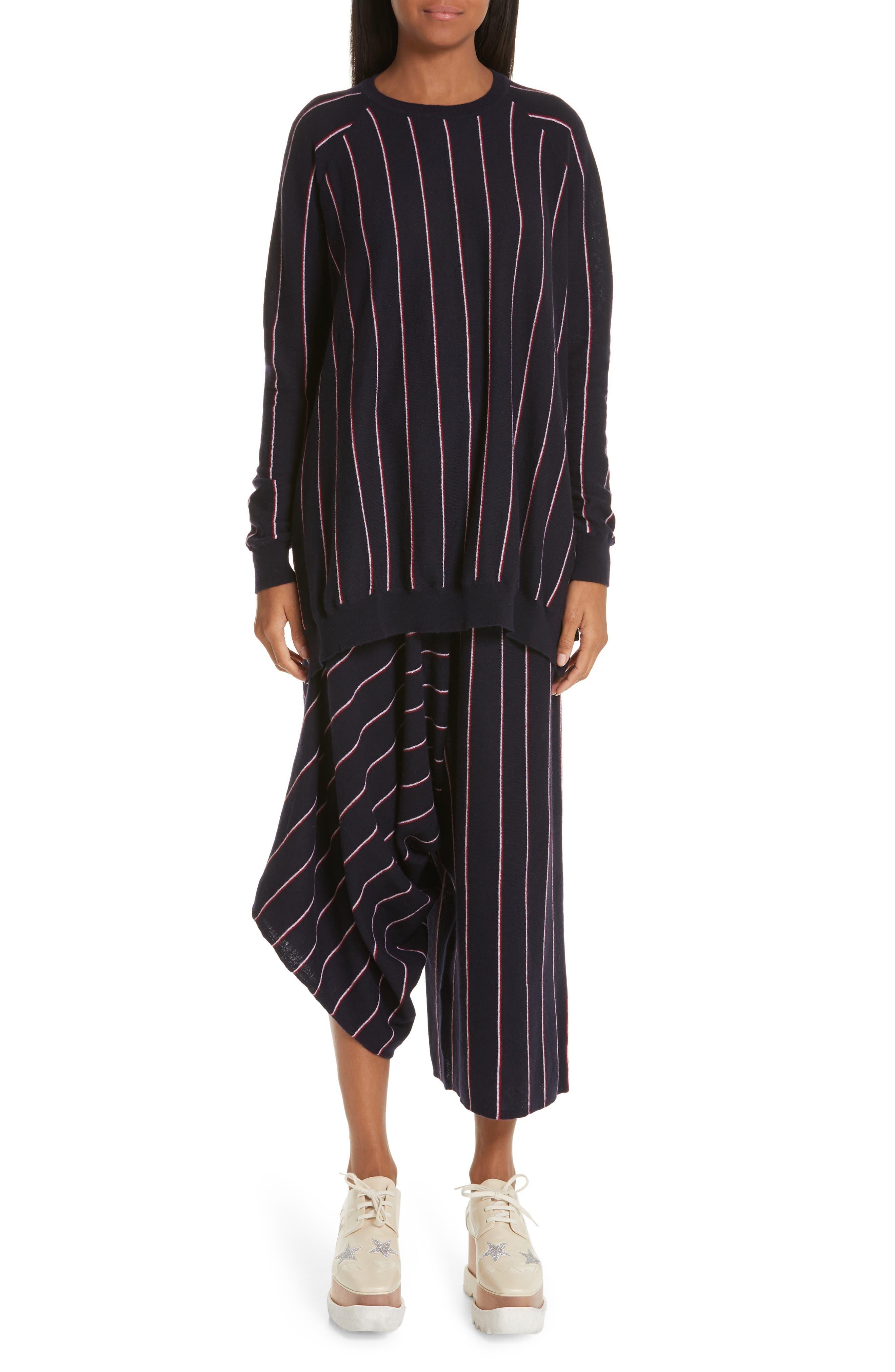 STELLA MCCARTNEY, Stripe Wool Knit Crop Pants, Alternate thumbnail 7, color, INK