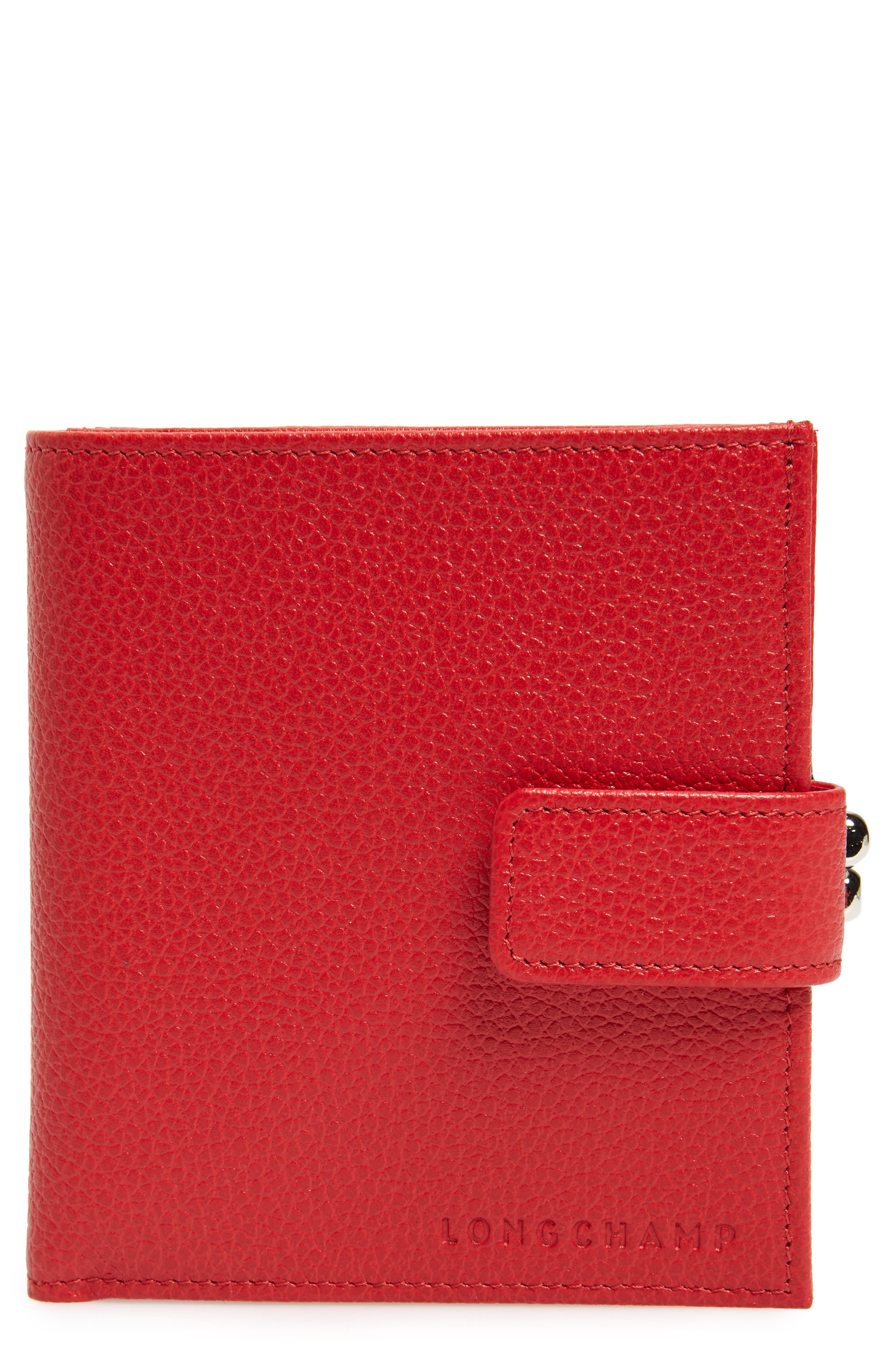 LONGCHAMP, 'Le Foulonne' Pebbled Leather Wallet, Main thumbnail 1, color, RED ORANGE