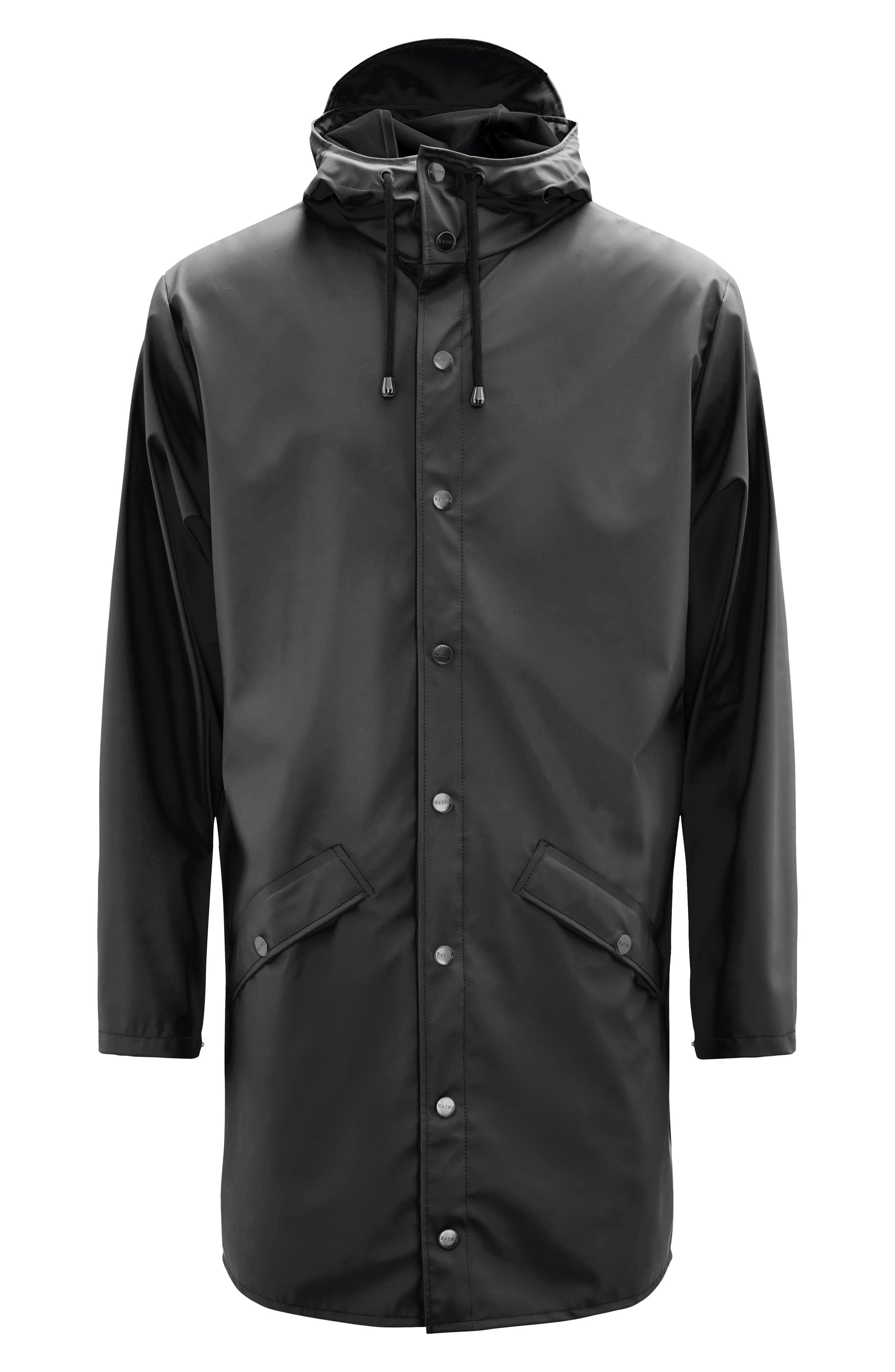 RAINS, Waterproof Hooded Long Rain Jacket, Alternate thumbnail 6, color, BLACK