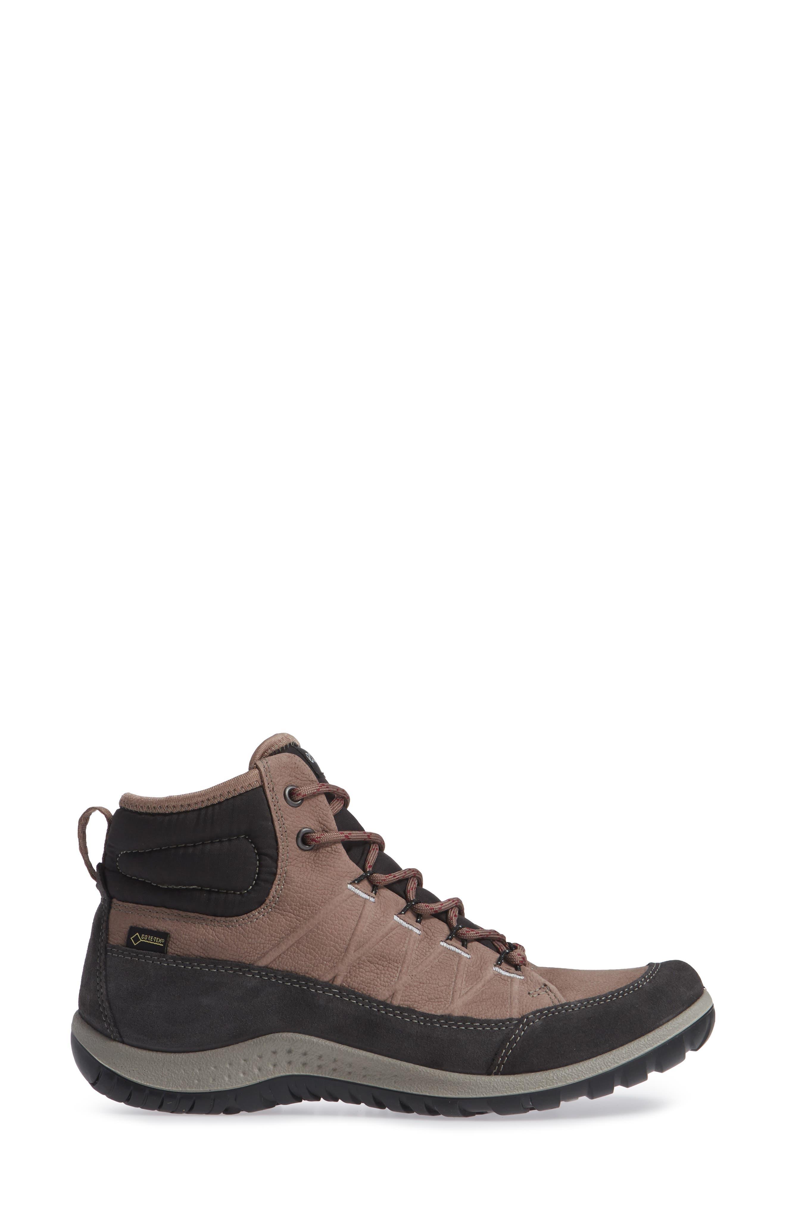 ECCO, 'Aspina GTX' Waterproof High Top Shoe, Alternate thumbnail 3, color, DEEP TAUPE NUBUCK LEATHER