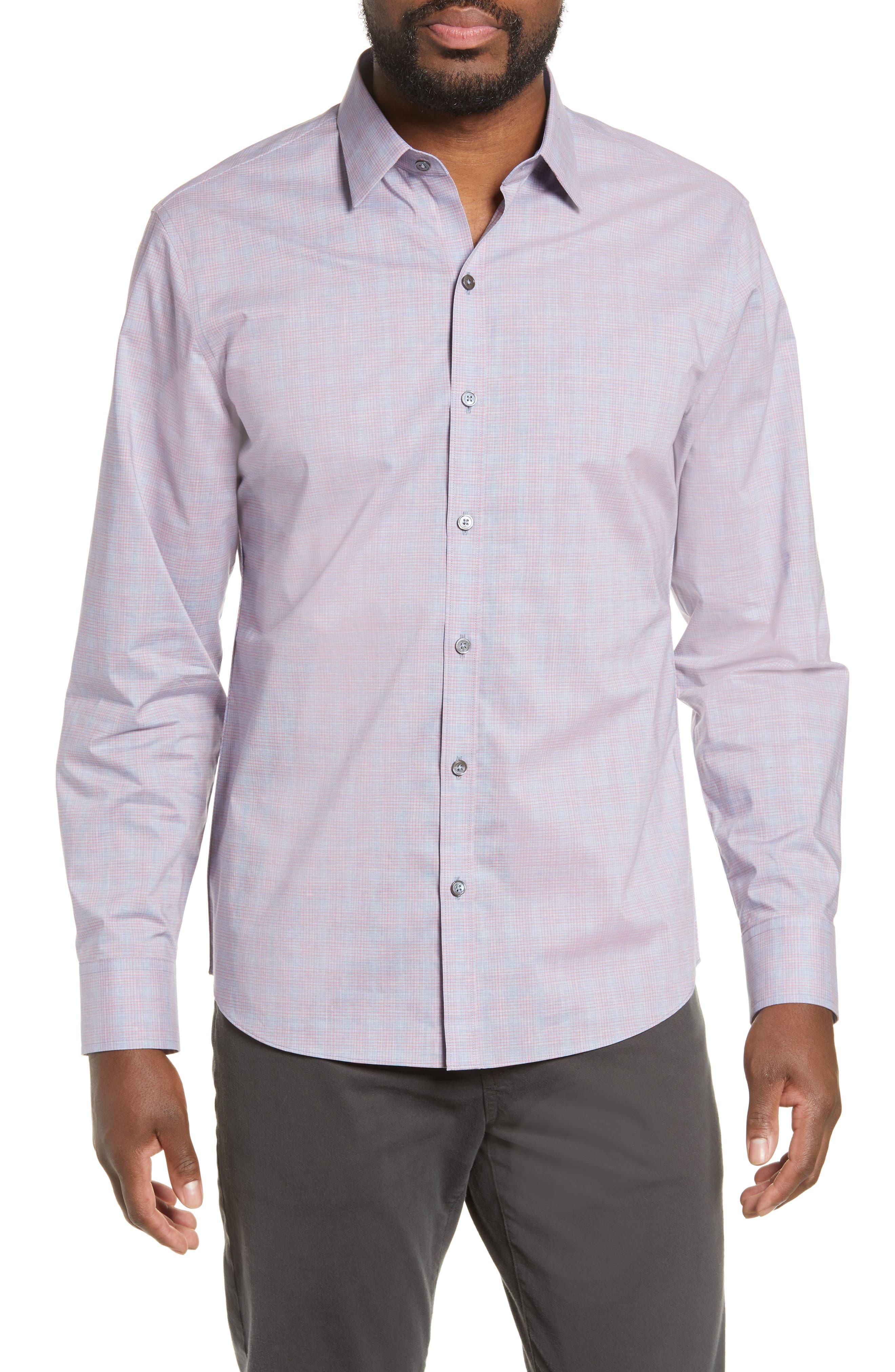 ZACHARY PRELL, Buckland Regular Fit Sport Shirt, Main thumbnail 1, color, FLAMINGO