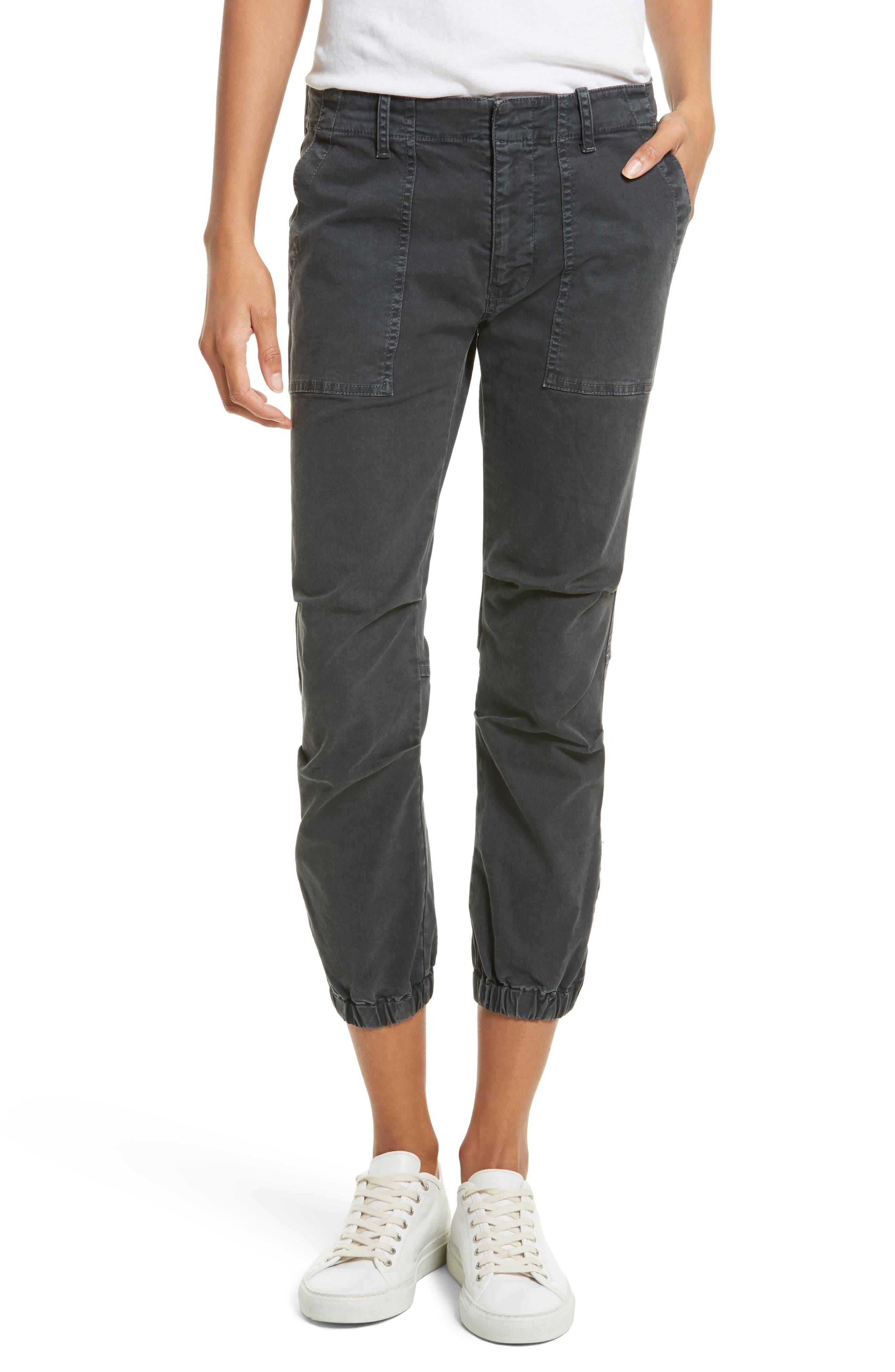 NILI LOTAN Stretch Cotton Twill Crop Military Pants, Main, color, CARBON