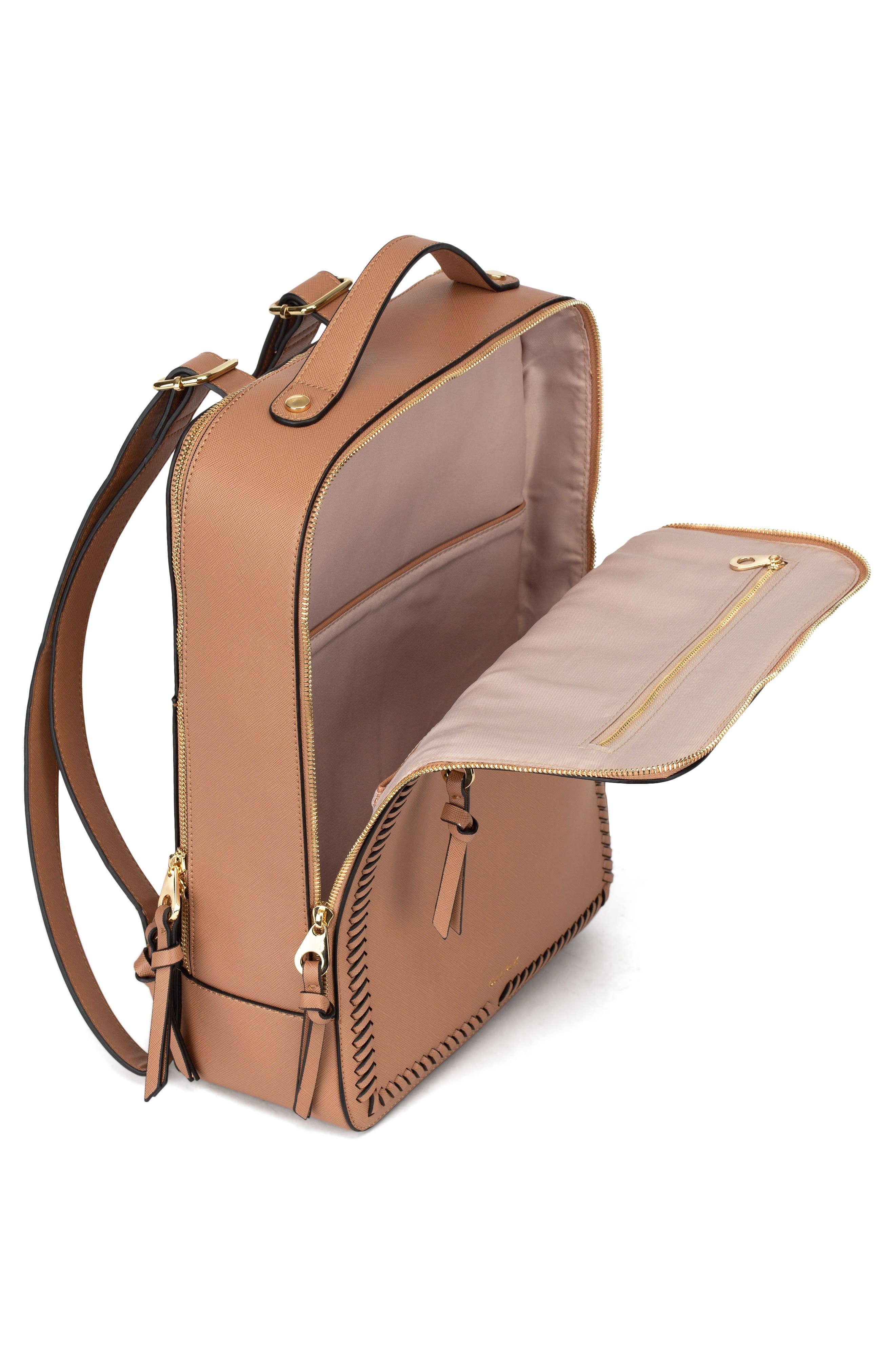 CALPAK, Kaya Faux Leather Laptop Backpack, Alternate thumbnail 3, color, CARAMEL
