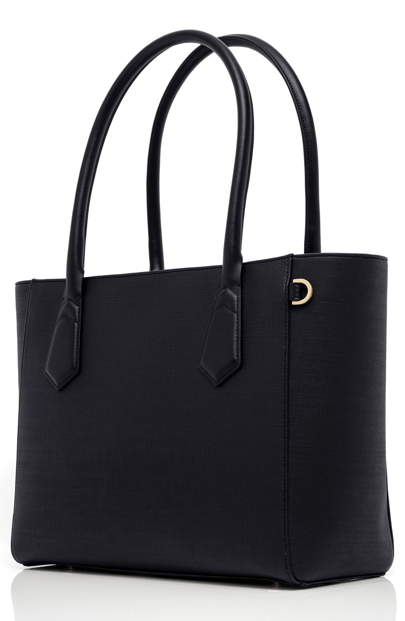 DAGNE DOVER, Signature Classic Coated Canvas Tote, Alternate thumbnail 4, color, ONYX