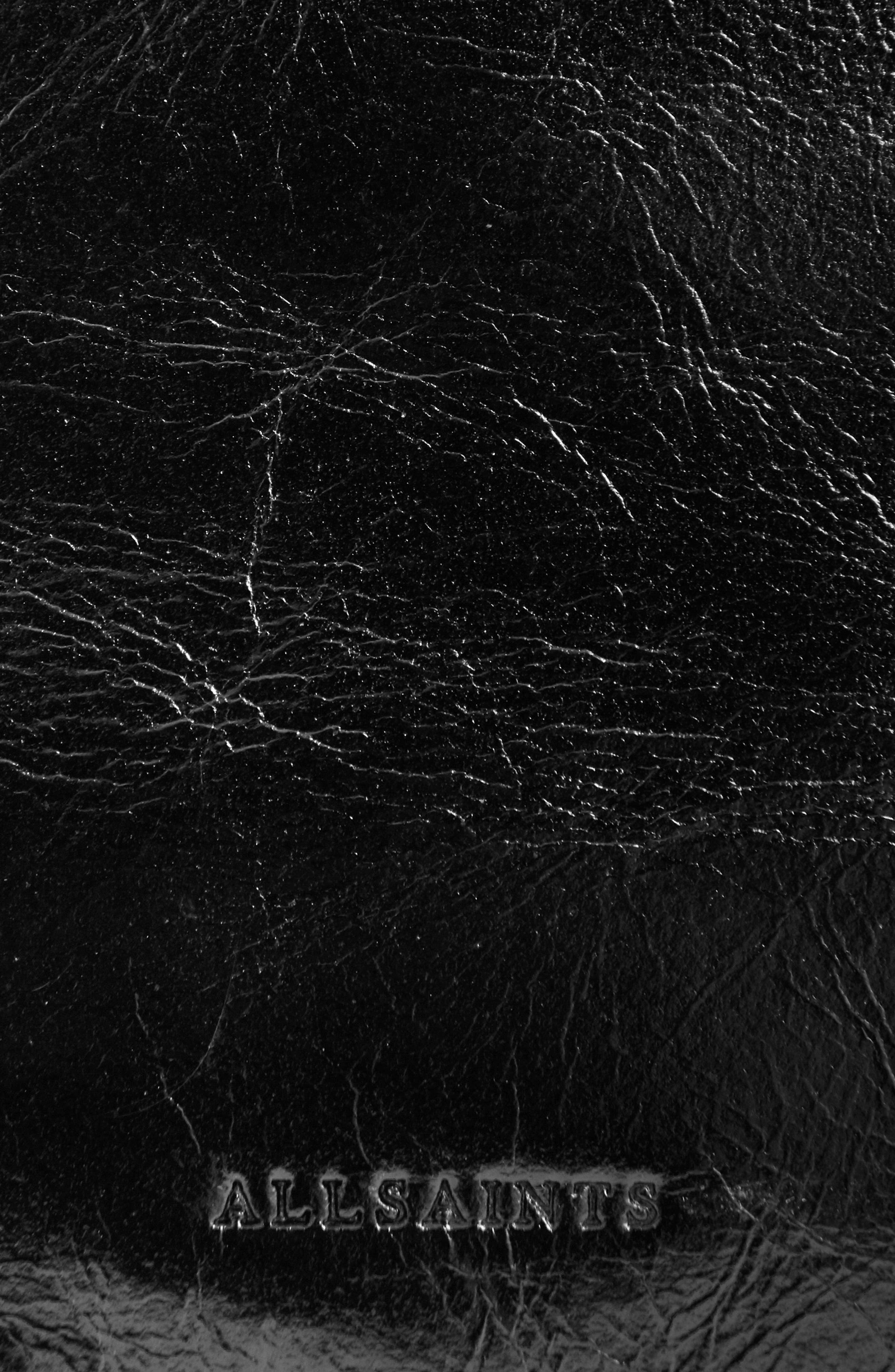 ALLSAINTS, Clip Leather Belt Bag, Alternate thumbnail 6, color, BLACK