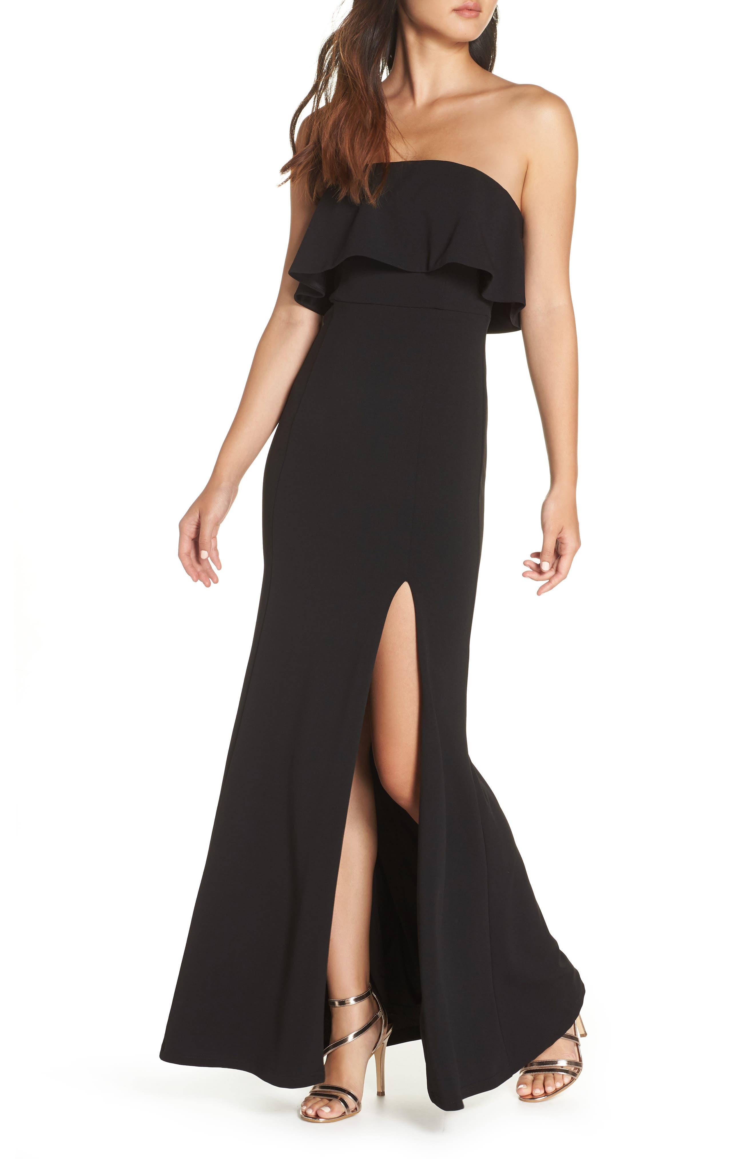 LULUS Off the Shoulder Maxi Gown, Main, color, BLACK