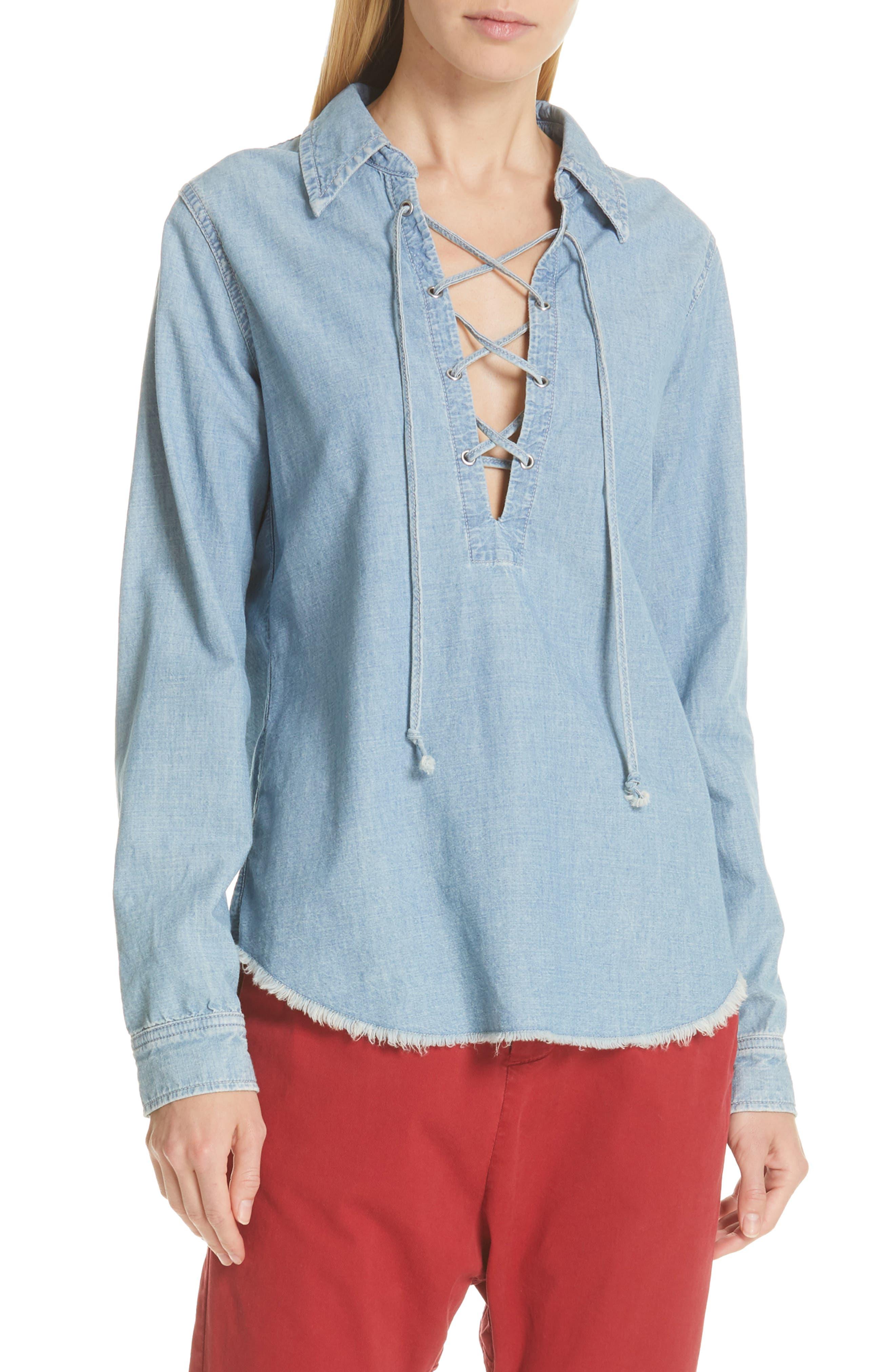 NILI LOTAN Mallory Chambray Shirt, Main, color, SKY BLUE