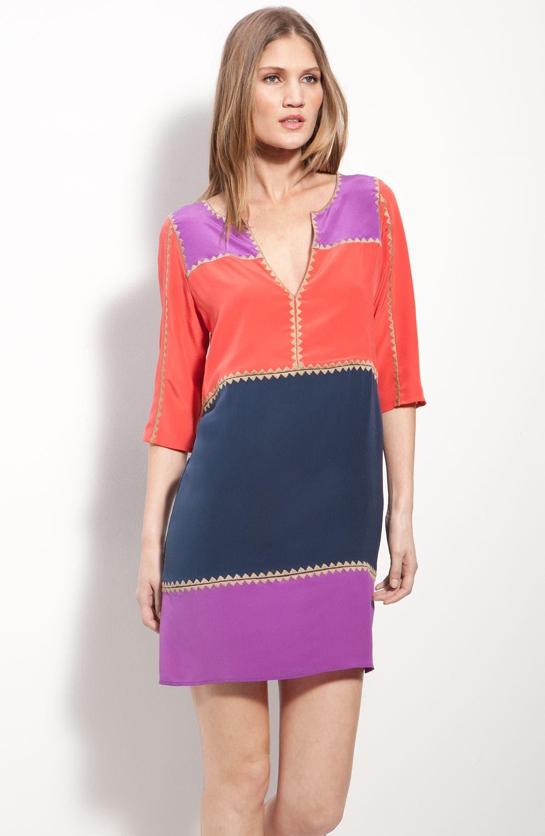 BCBGMAXAZRIA, 'Aidas' Colorblock Minidress, Main thumbnail 1, color, 695