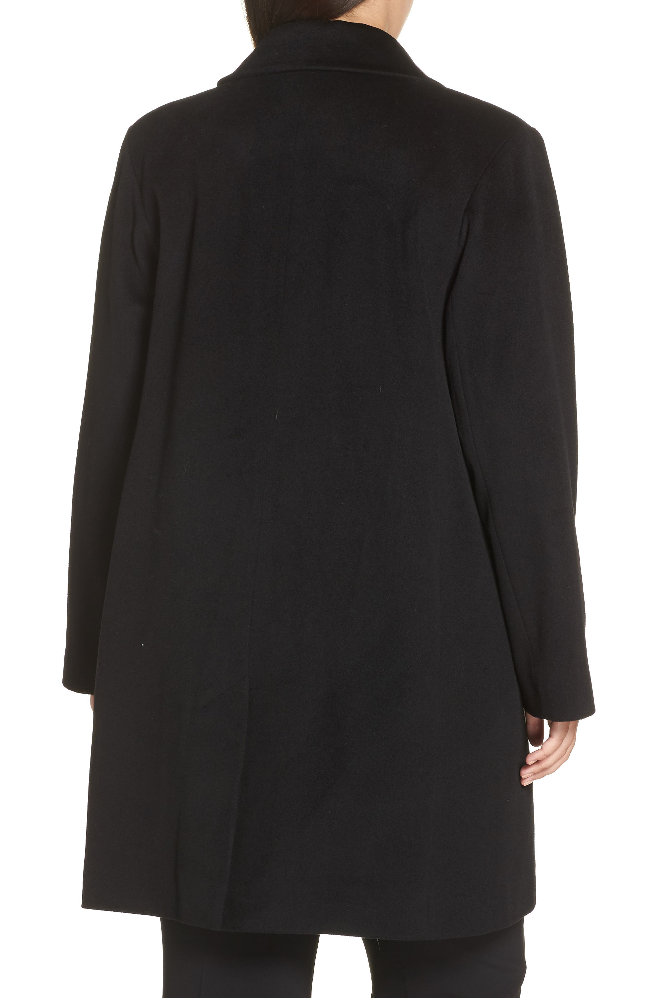 FLEURETTE, Notch Collar Loro Piana Wool Coat, Alternate thumbnail 2, color, BLACK