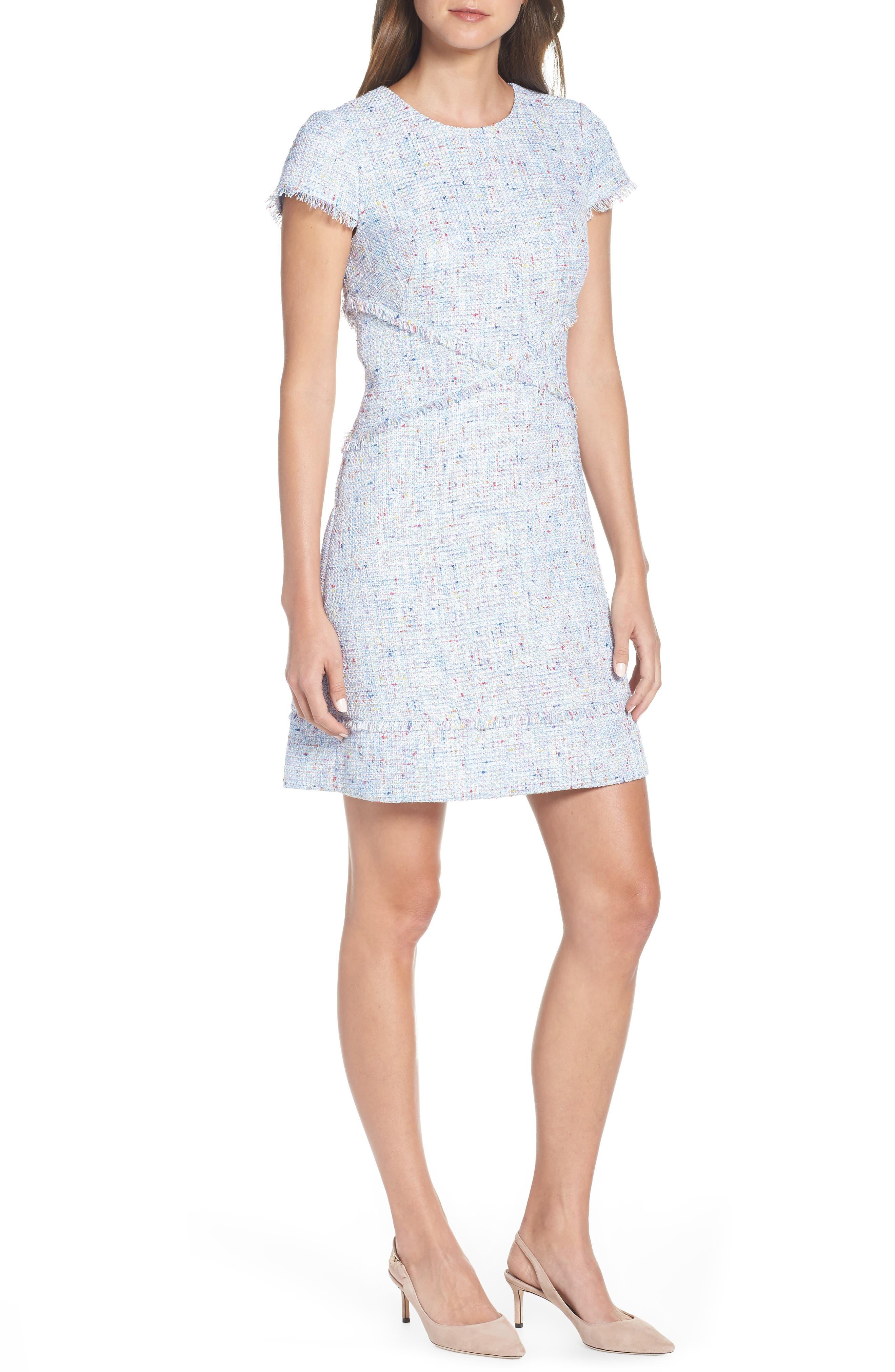 ELIZA J, Sheath Tweed Sheath Dress, Main thumbnail 1, color, BLUE