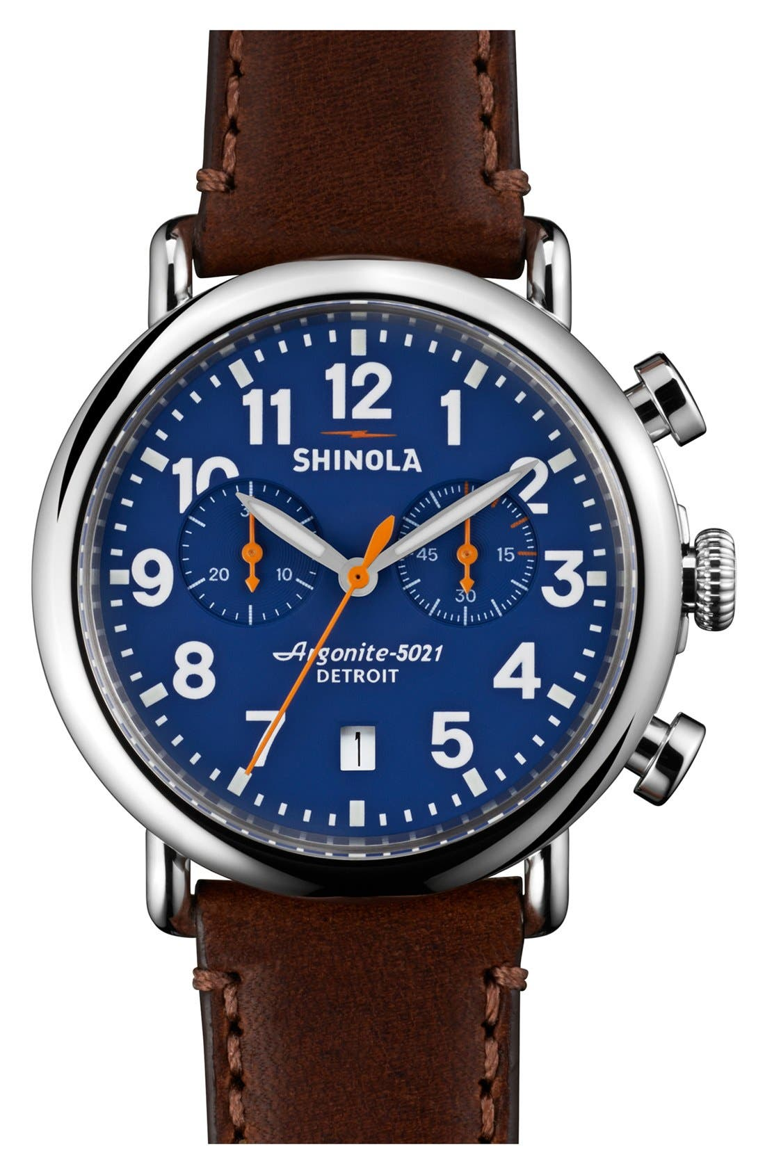 SHINOLA 'The Runwell Chrono' Leather Strap Watch, 41mm, Main, color, DARK BROWN/ BLUE