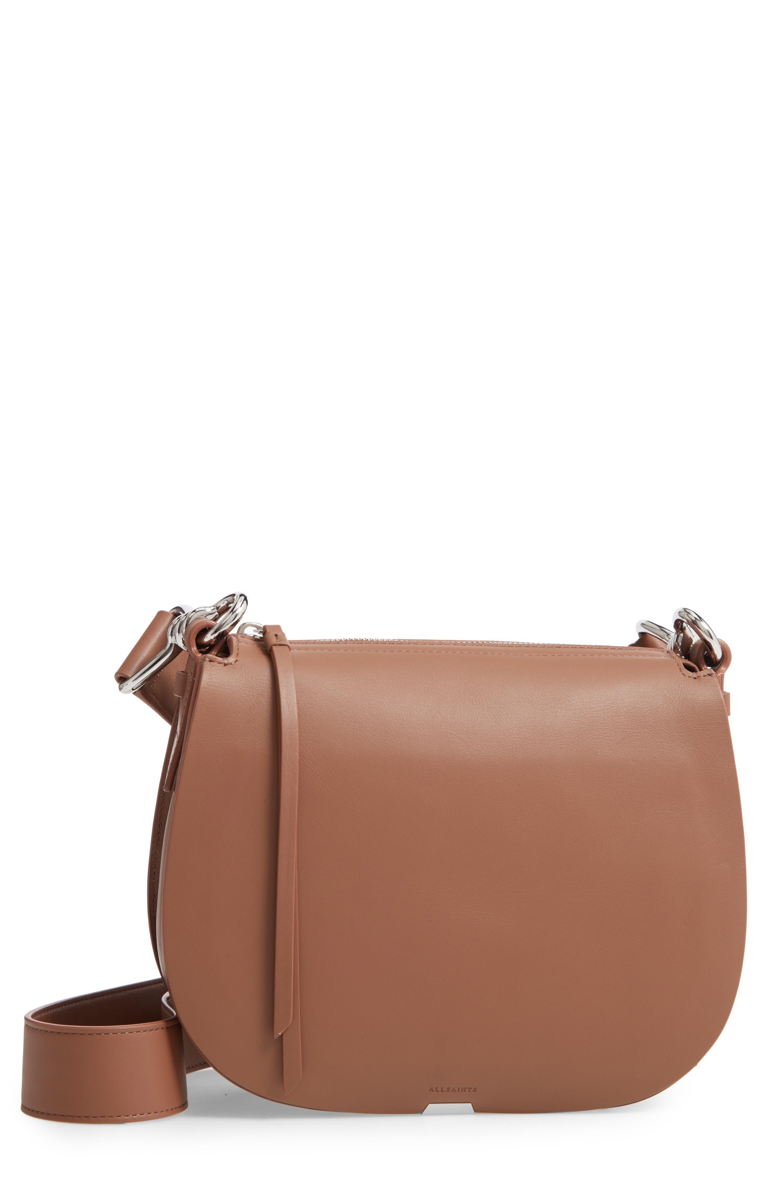 ALLSAINTS, Captain Round Leather Crossbody Bag, Main thumbnail 1, color, MILK CHOCOLATE