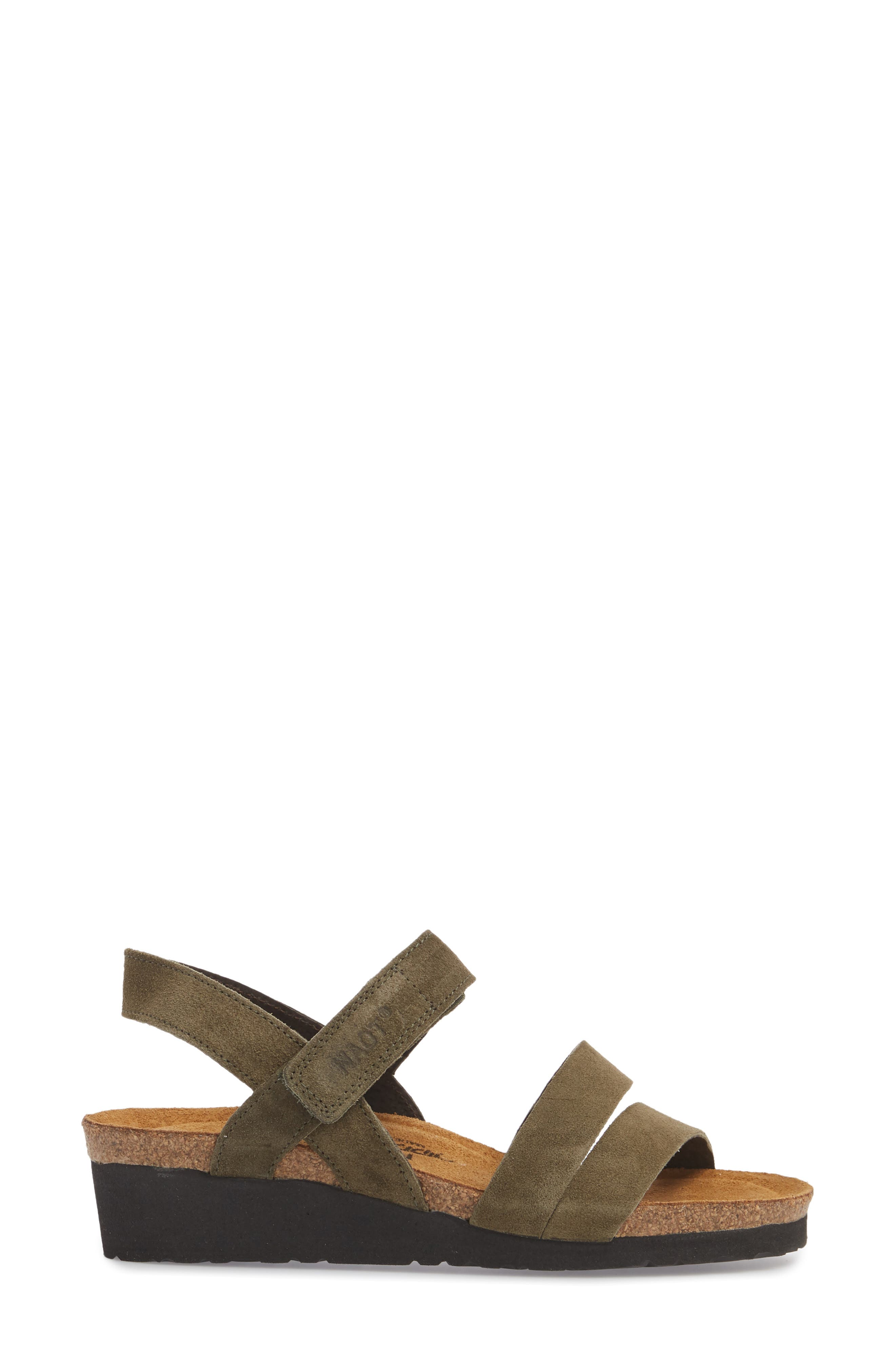 NAOT, 'Kayla' Sandal, Alternate thumbnail 3, color, OILY OLIVE SUEDE