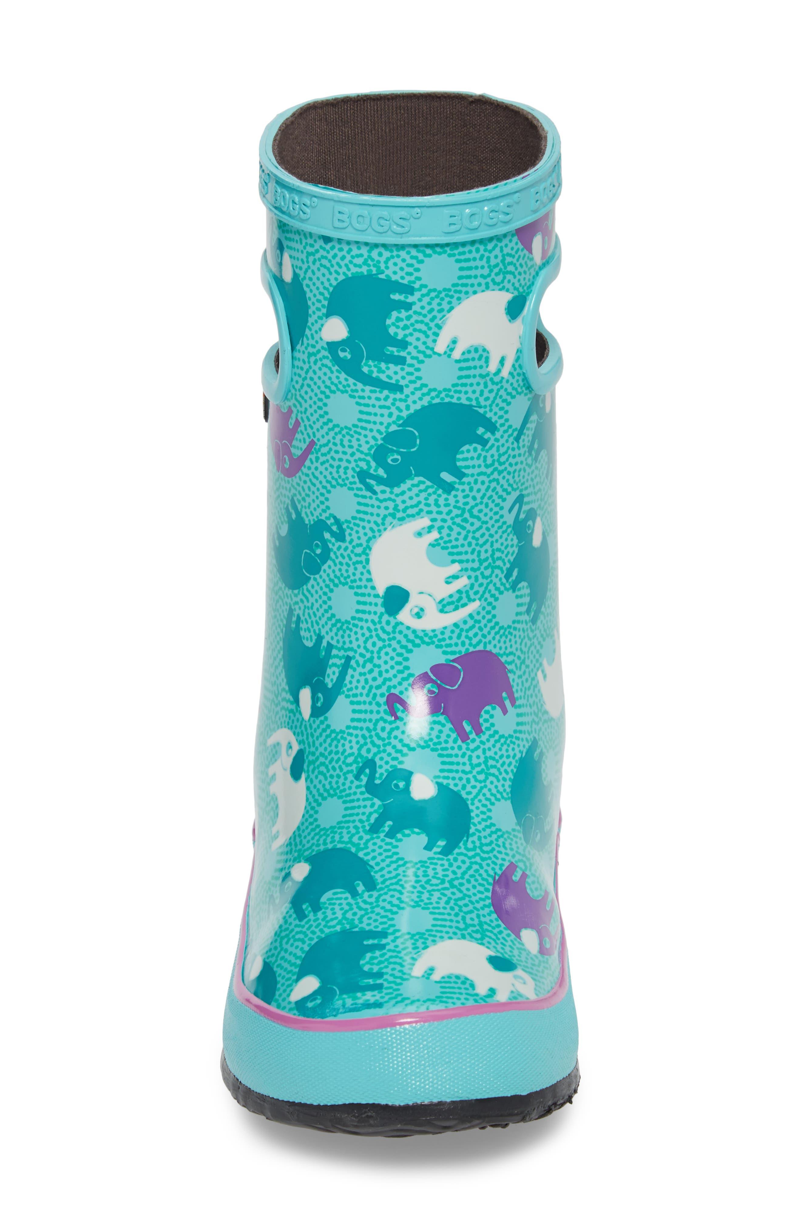 BOGS, Skipper Elephant Print Rubber Waterproof Rain Boot, Alternate thumbnail 4, color, TURQUOISE MULTI