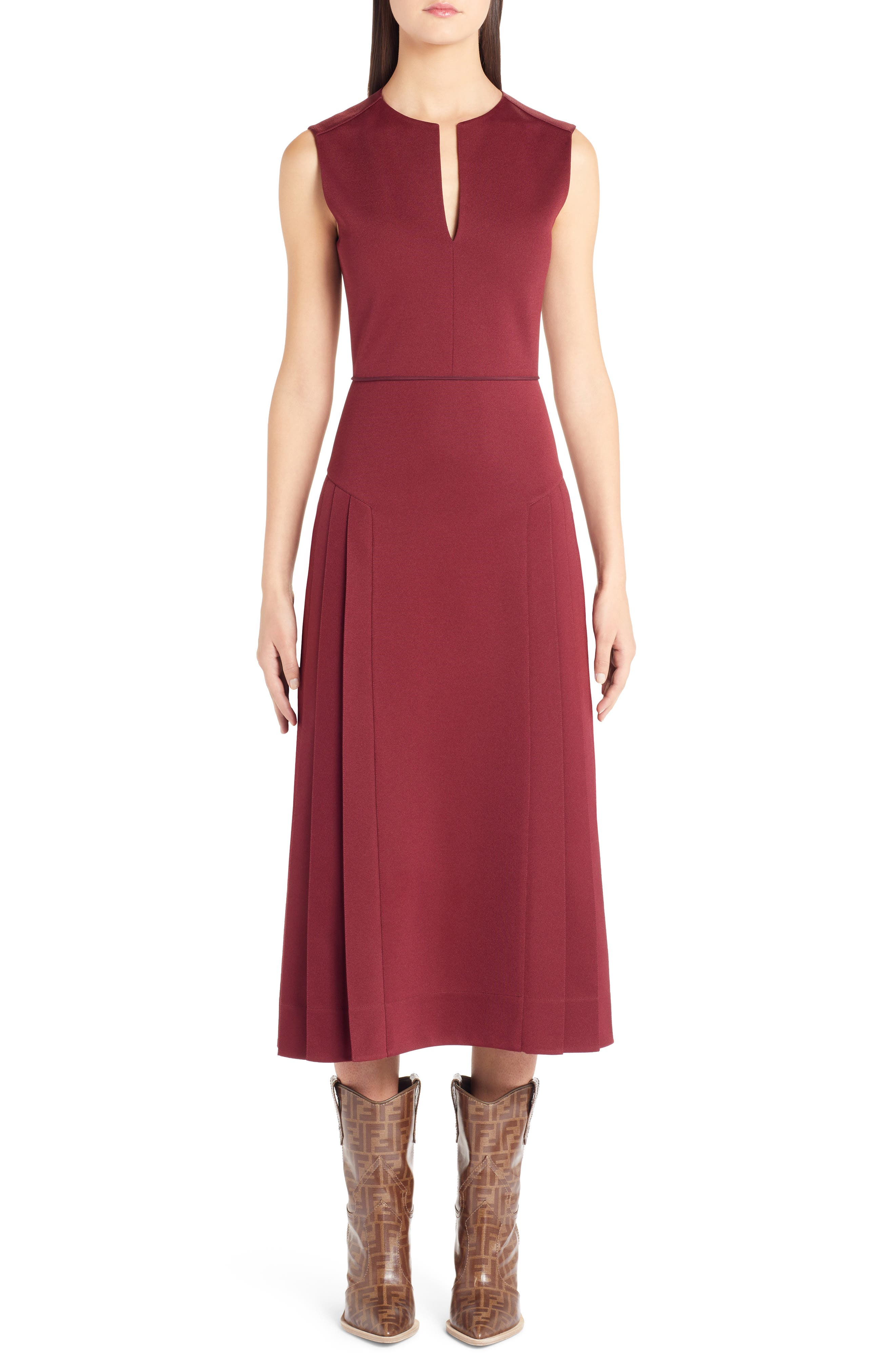Fendi Pleated A-Line Midi Dress, 8 IT - Burgundy
