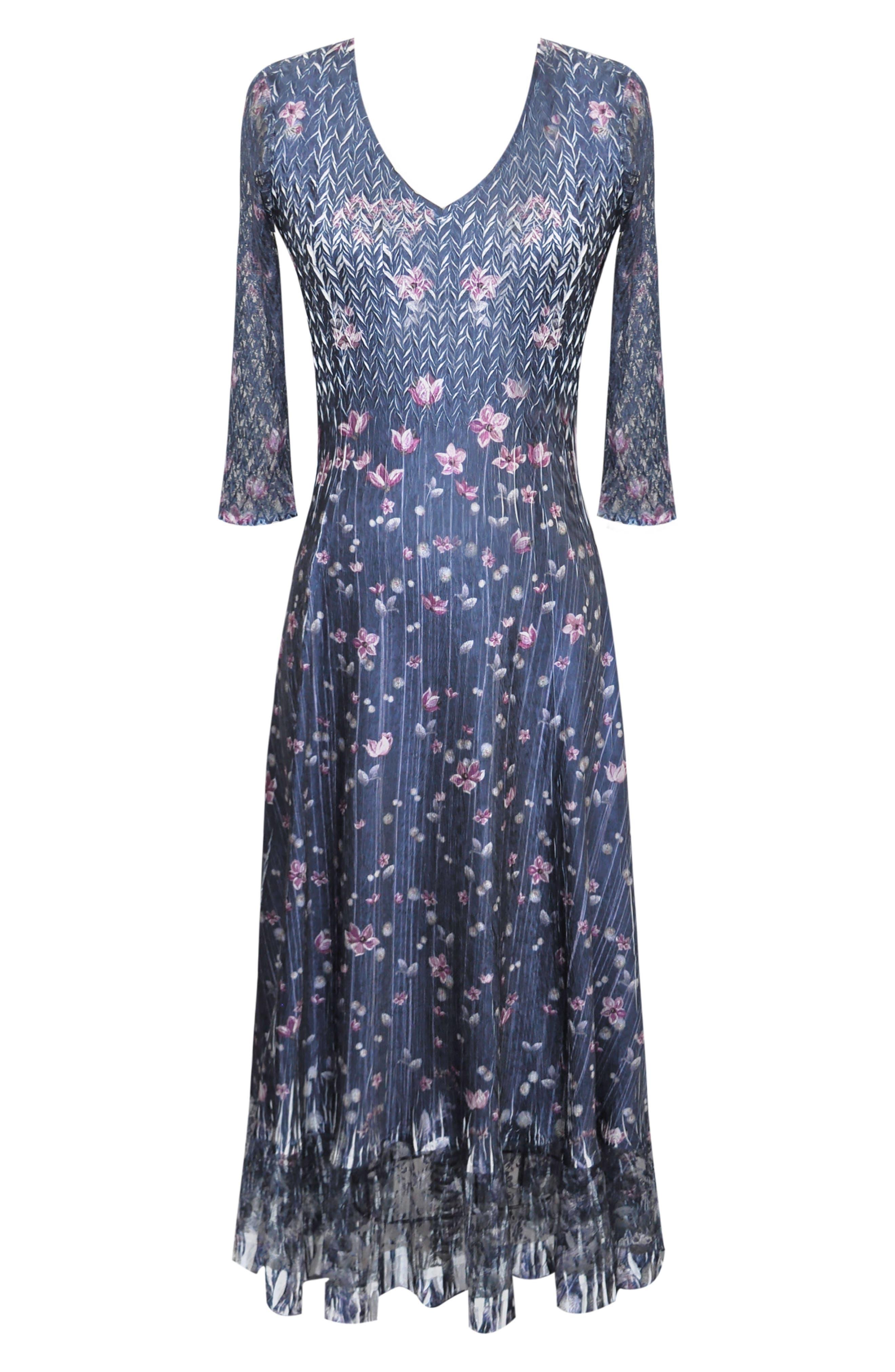 KOMAROV, Lace Sleeve Charmeuse Midi Dress, Alternate thumbnail 4, color, WILD THISTLE