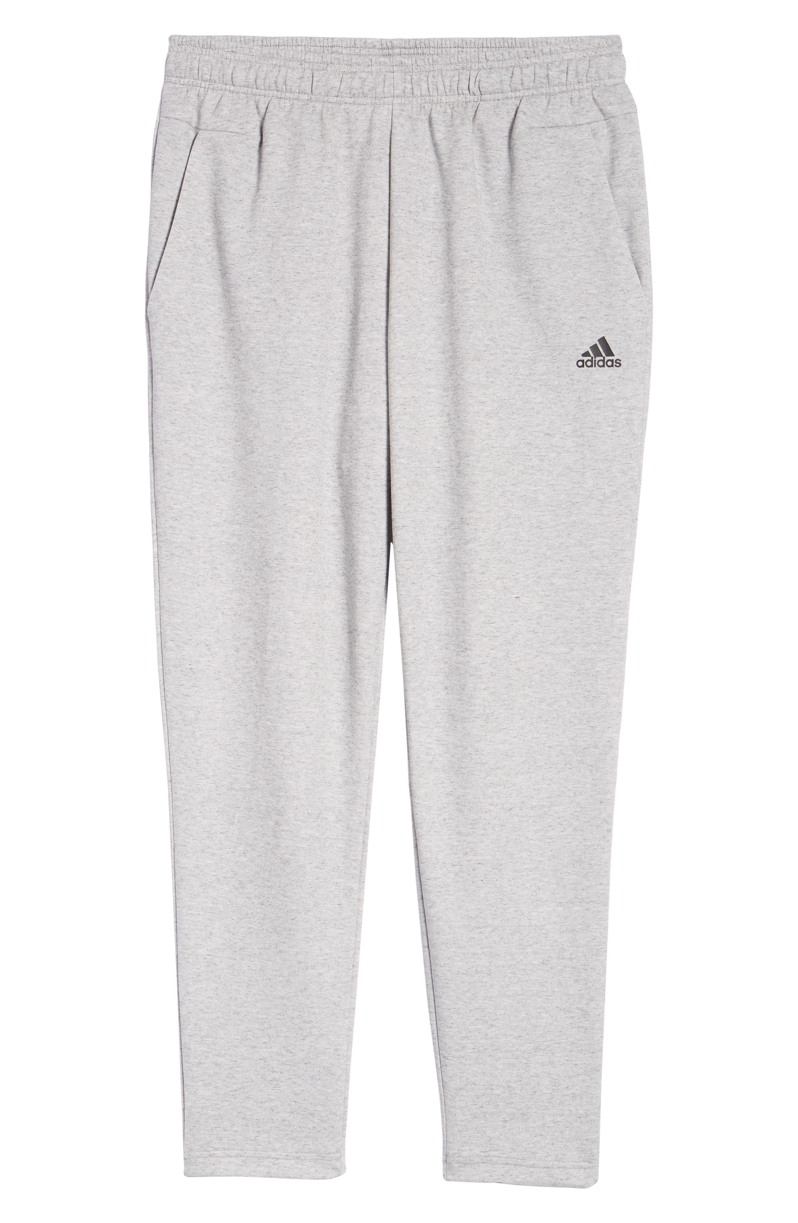 ADIDAS, ID Stadium Knit Pants, Alternate thumbnail 5, color, STADIUM HTR/ GREY